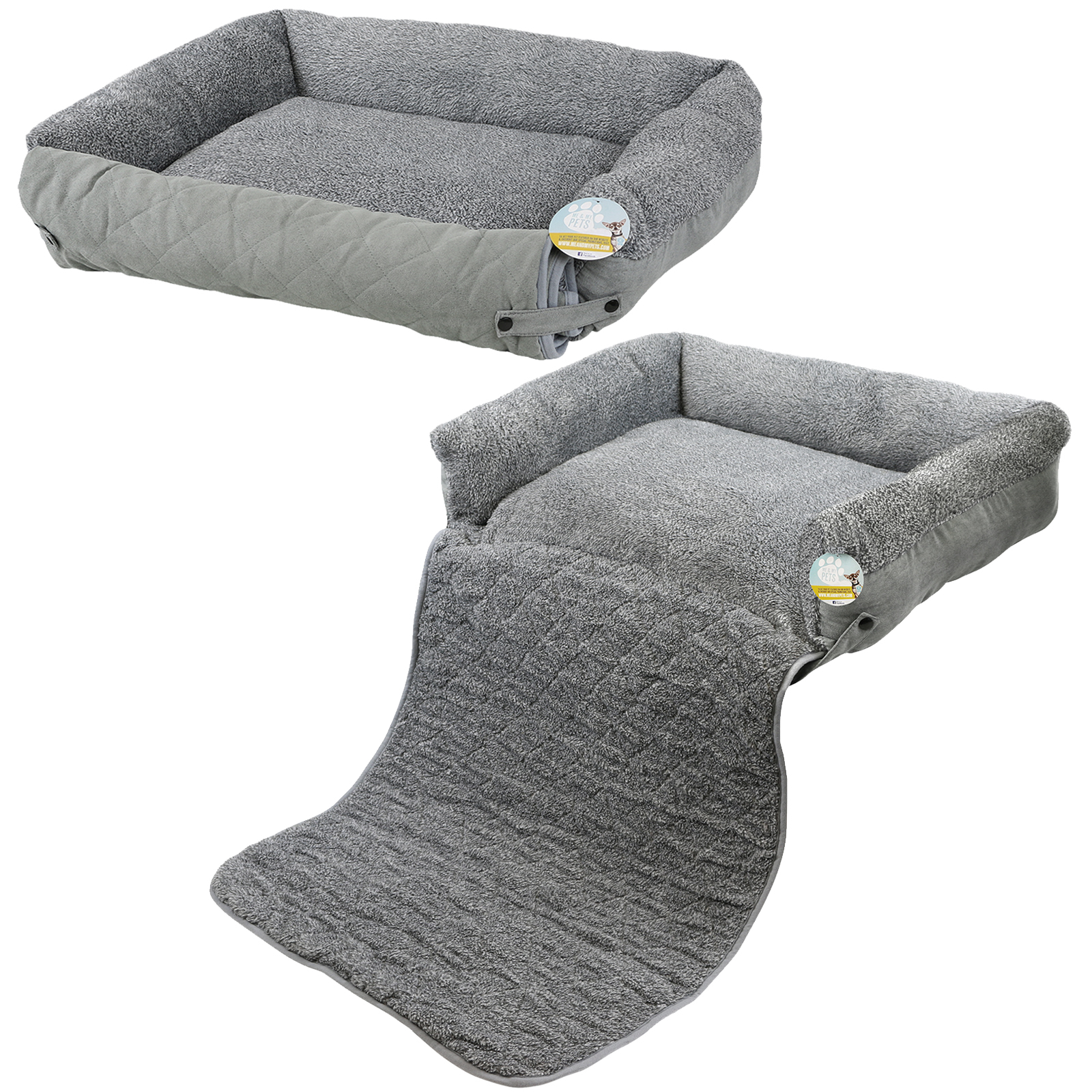 Grey Dog Bed Sofa : Me my pet quilted grey fleece fold out cat dog bed sofa