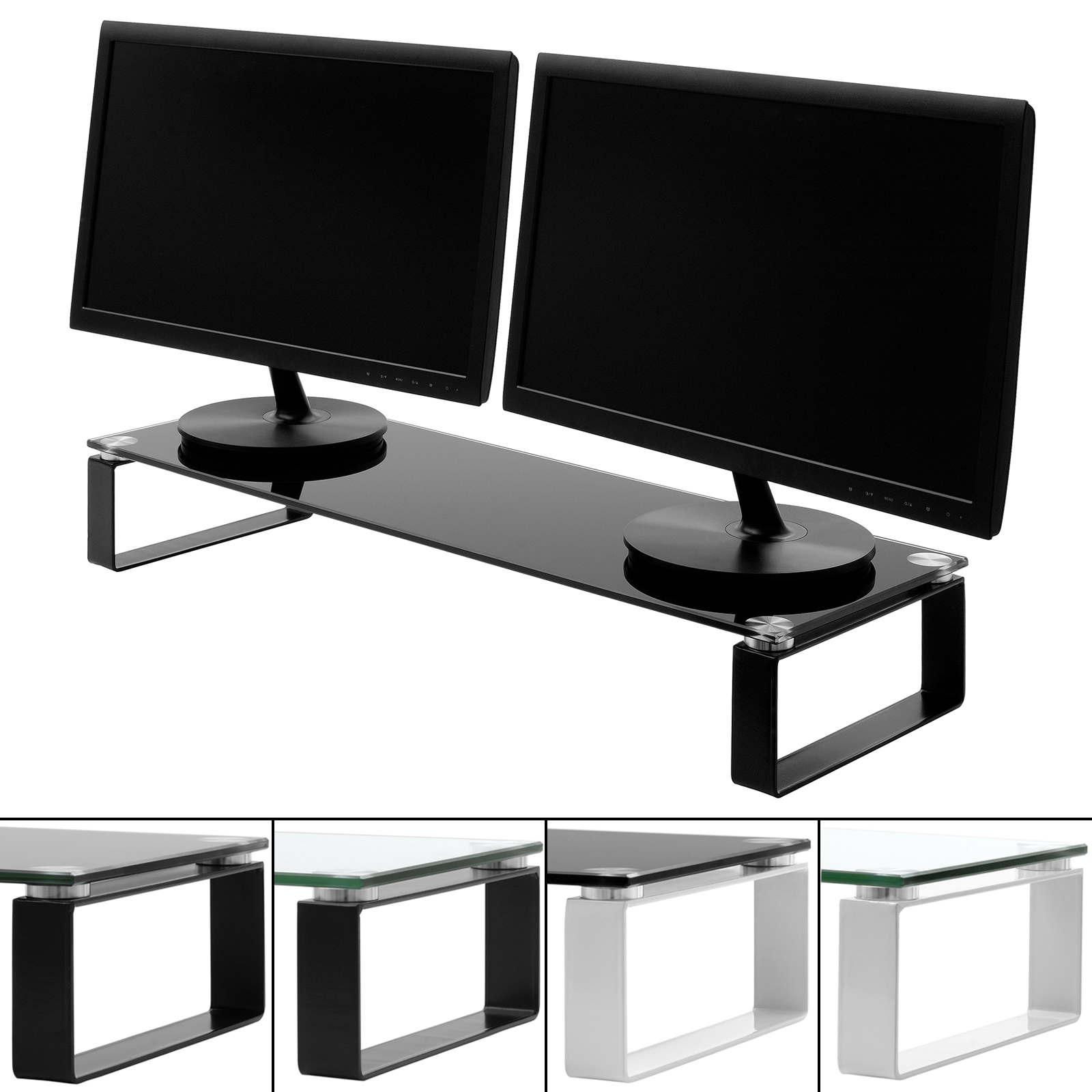 Large twin double monitor screen riser shelf computer imac for Block tv stand