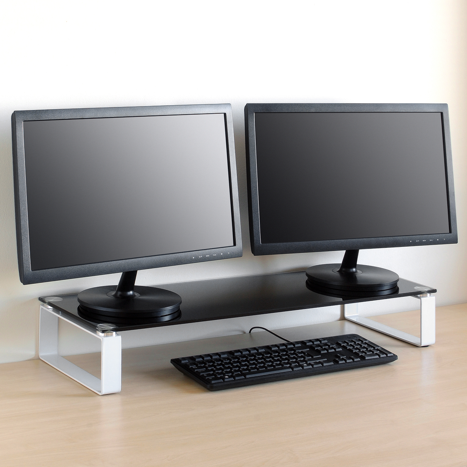 Large Double Monitor Riser Stand Pc Imac Screen Tv Display