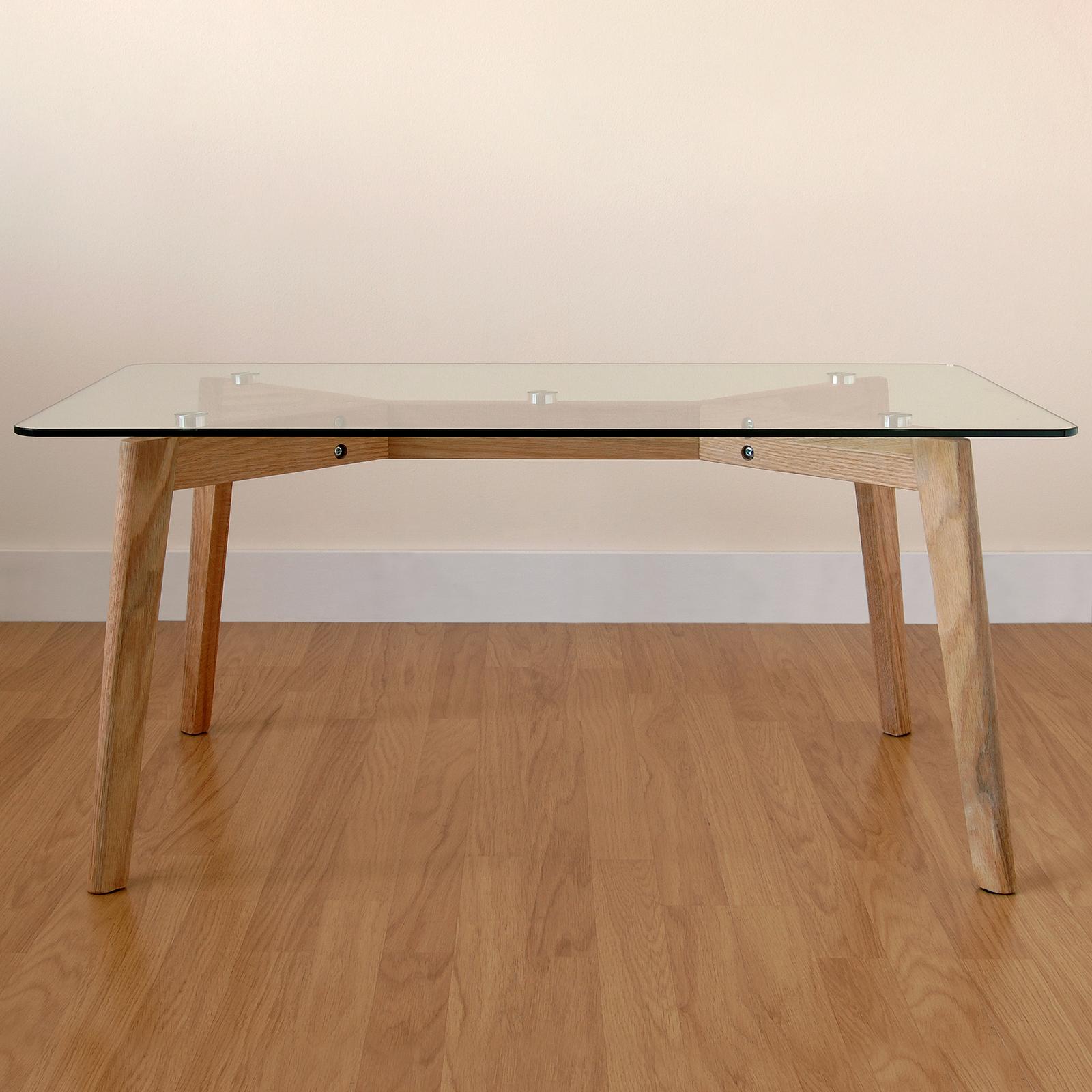 Grand moderne rectangulaire verre transparent salon caf - Protege table rectangulaire ...