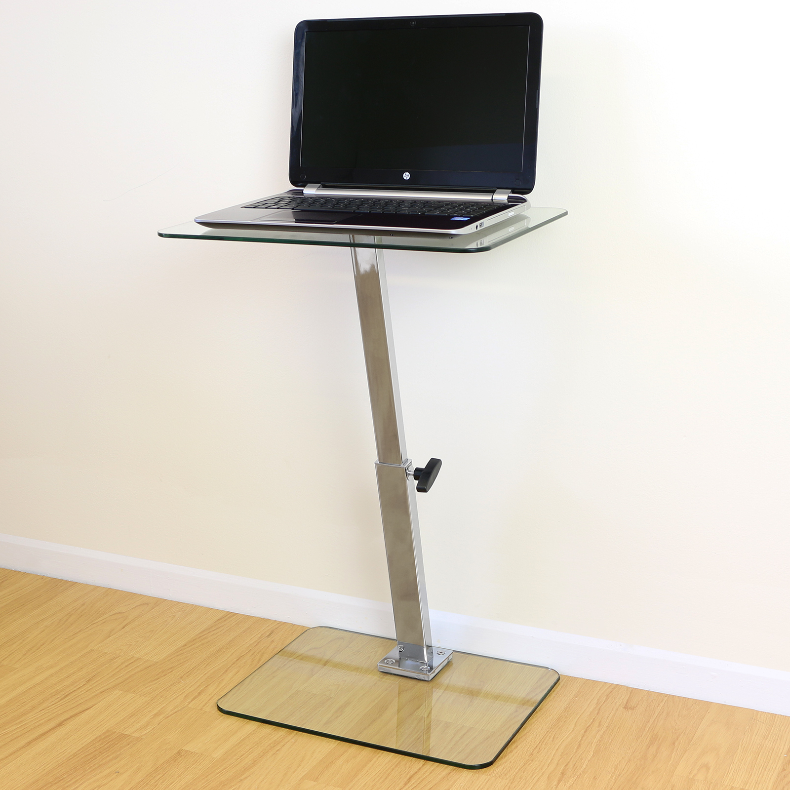 Clear Glass Adjustable Laptop Notebook Table Stand Bed Sofa Office Computer Desk