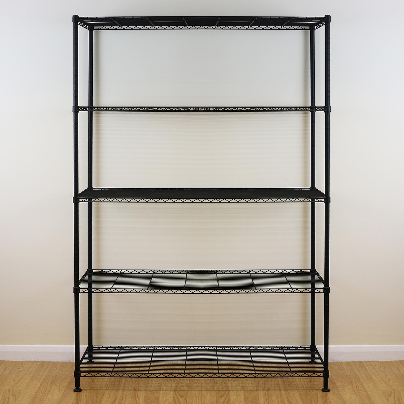 5 stufen schwarz metal lagerregal regal draht regal k che b roeinheit 180cm ebay. Black Bedroom Furniture Sets. Home Design Ideas