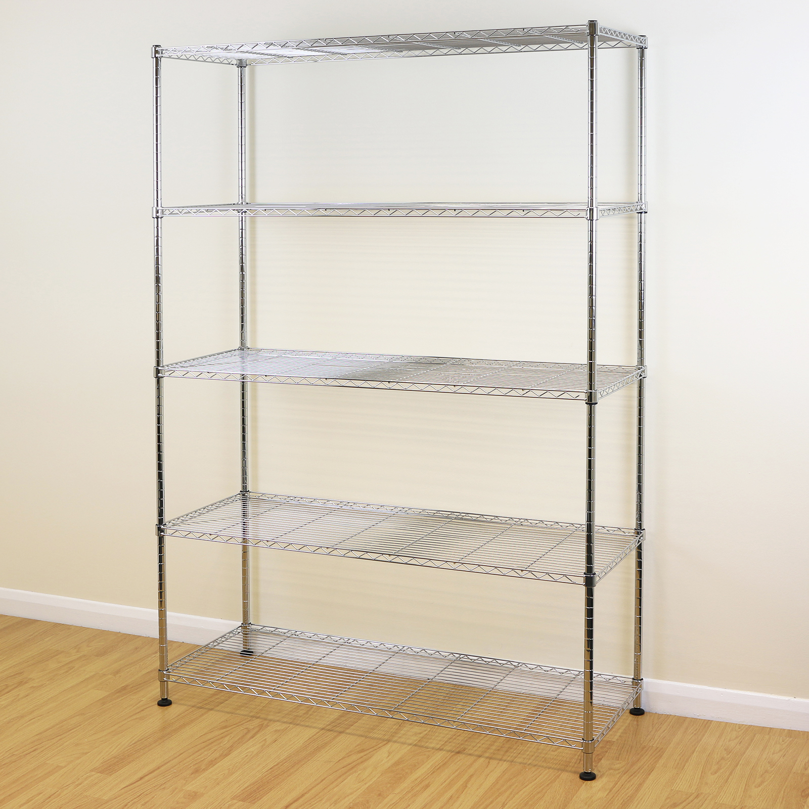 5 tier chrome metal storage rack shelving wire shelf. Black Bedroom Furniture Sets. Home Design Ideas