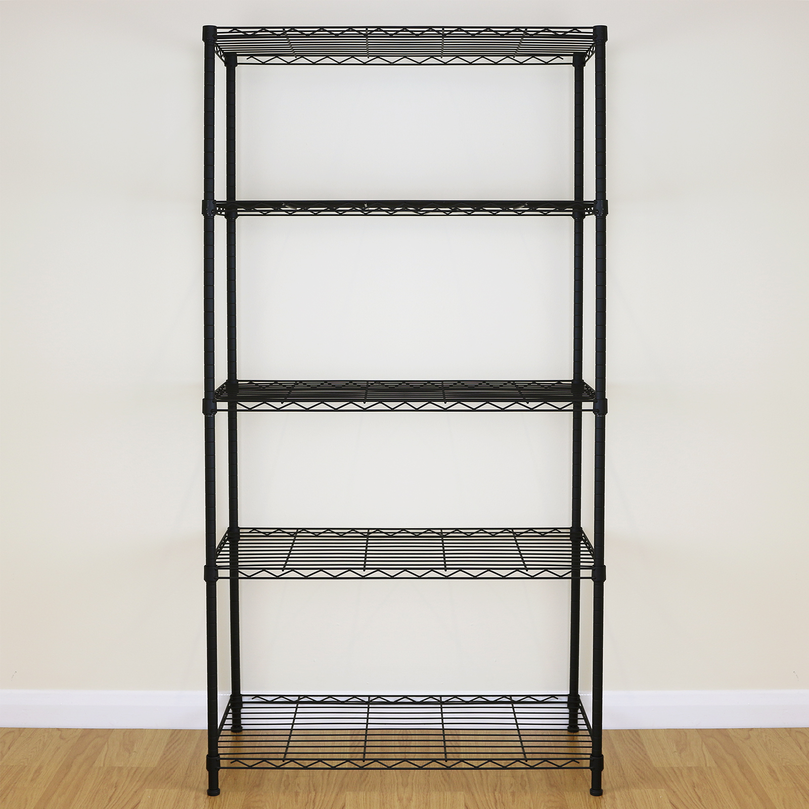5 tier black metal storage rack shelving wire shelf. Black Bedroom Furniture Sets. Home Design Ideas