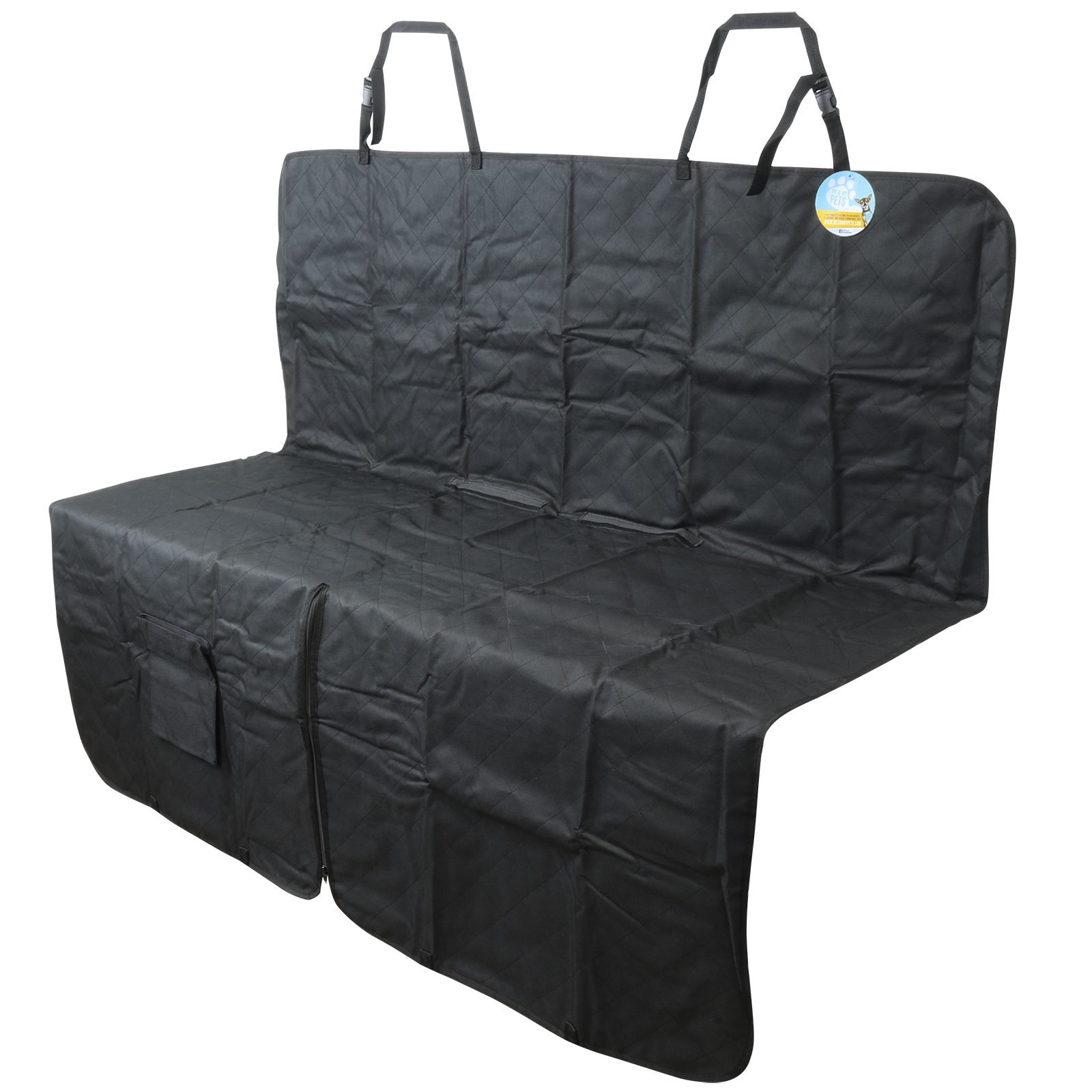 me my black quilted rear car seat liner protector hammock pet dog cover mat ebay. Black Bedroom Furniture Sets. Home Design Ideas