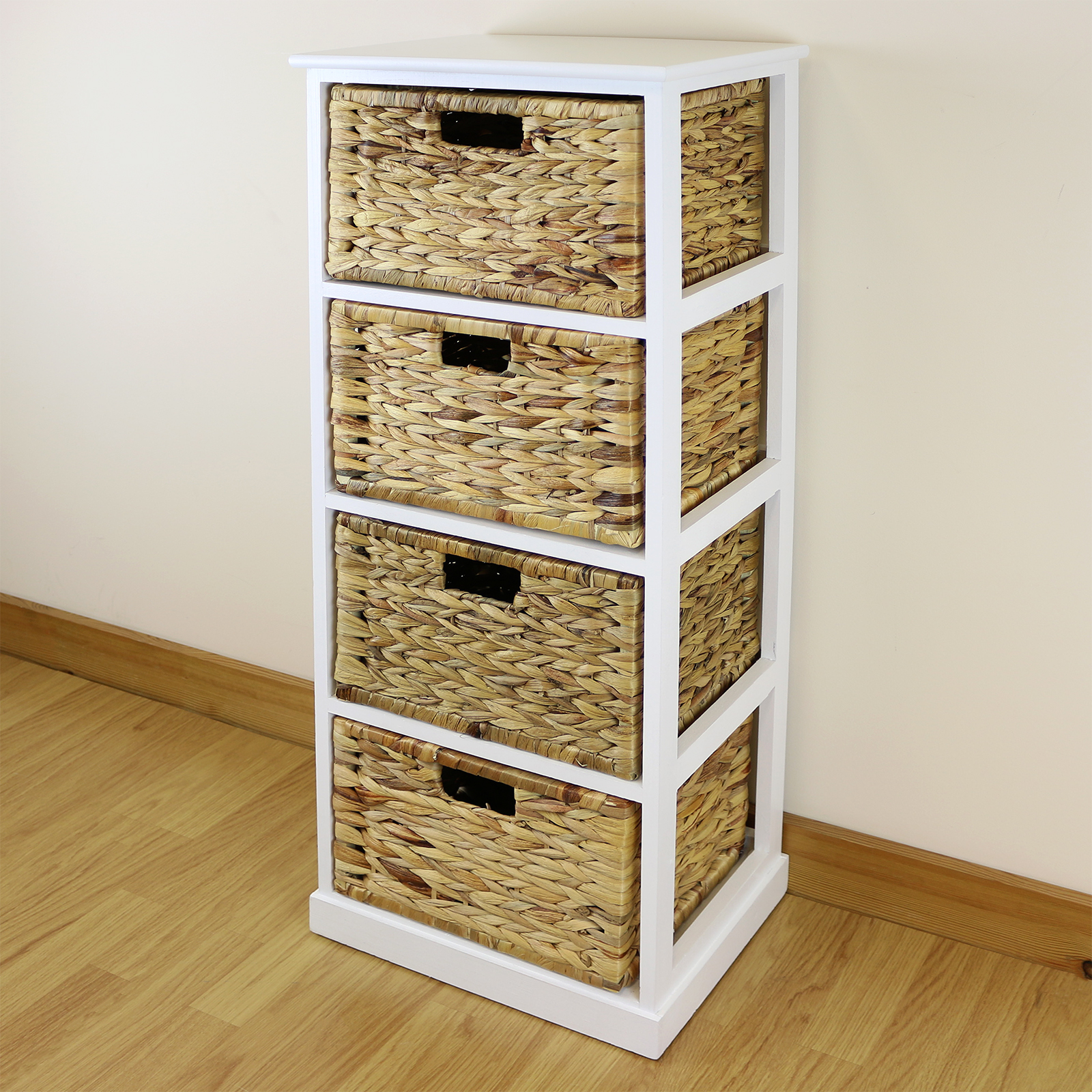 White Drawer Basket Wooden Cabinet Home Storage Unit Lounge