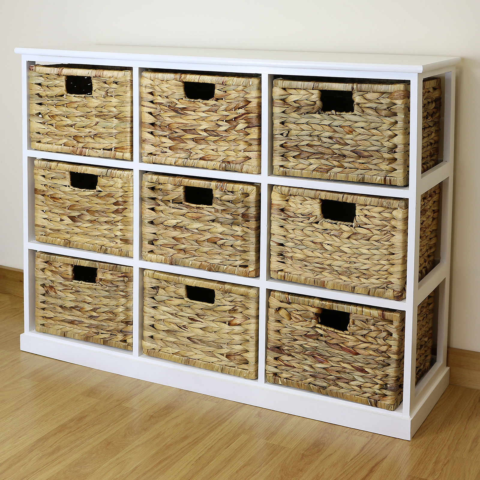 White 9 Drawer Basket Storage Side Unit Lounge Bathroom Nursery Bedroom Chest Ebay