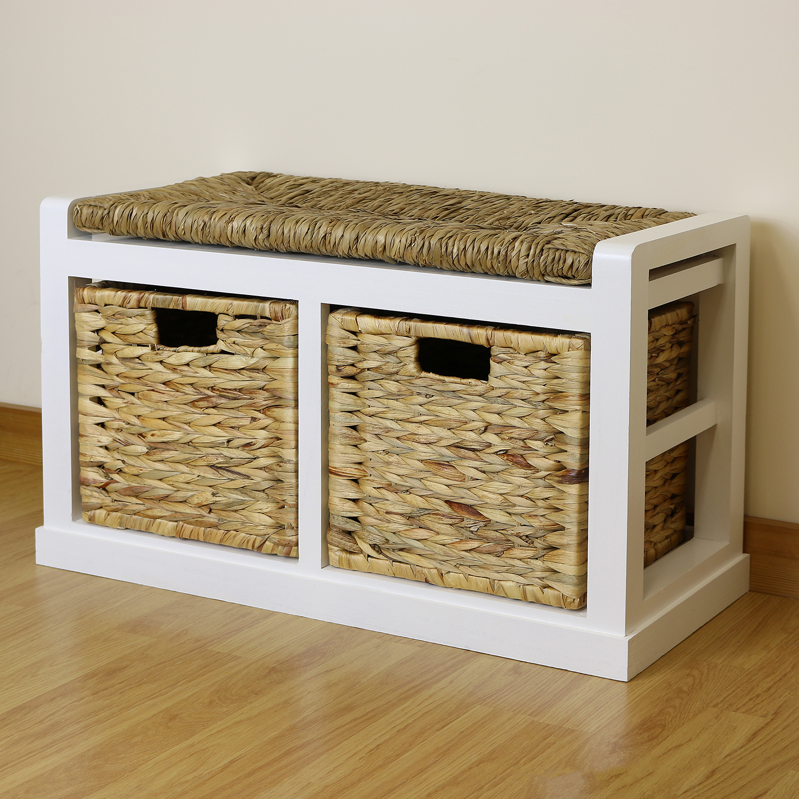 White Farmhouse Hallway Bathroom Storage Bench Seat Wicker Cushion & 2 Baskets