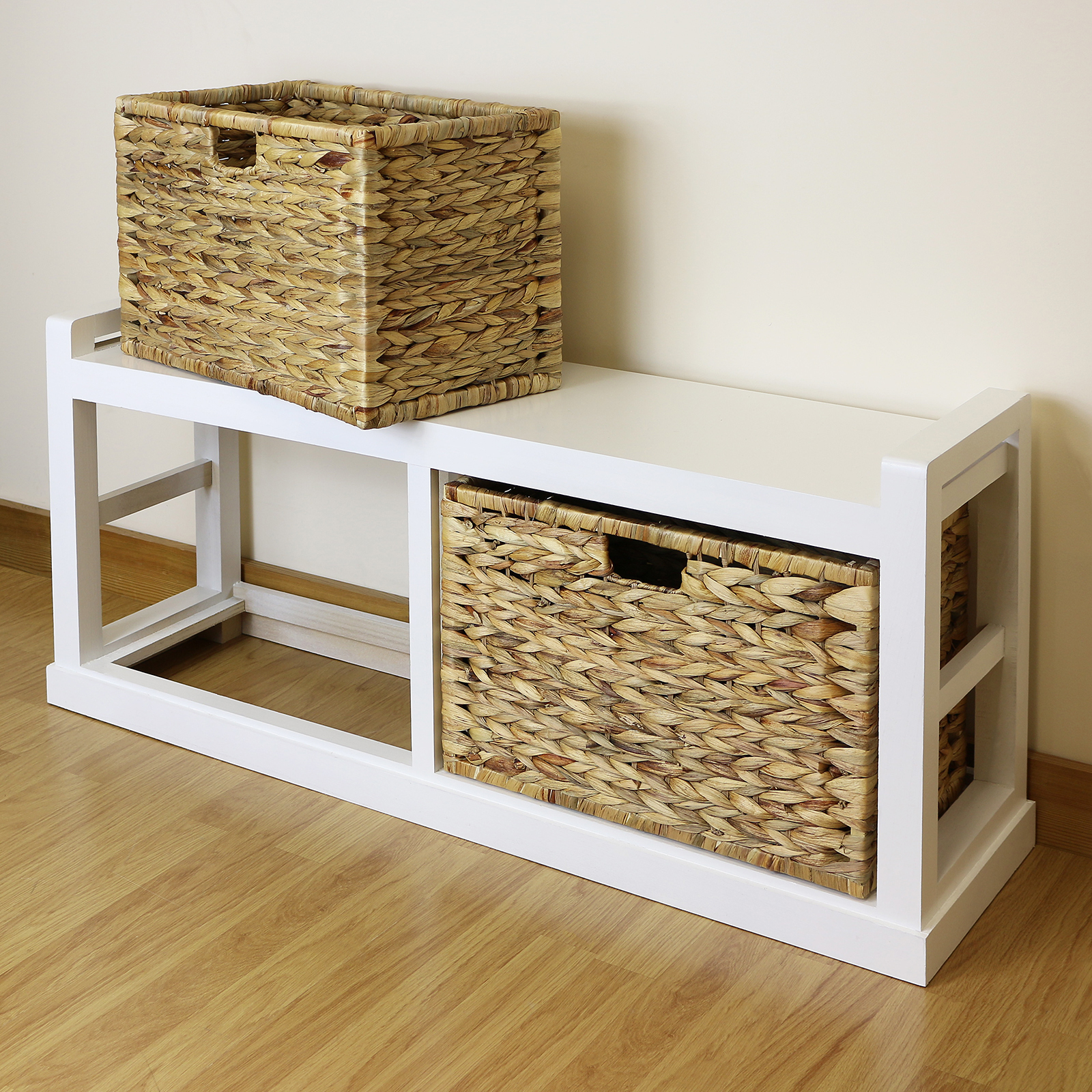 White Farmhouse Twin Seat Hallway Shoe Storage Bench Wicker Cushion & 2 Baskets