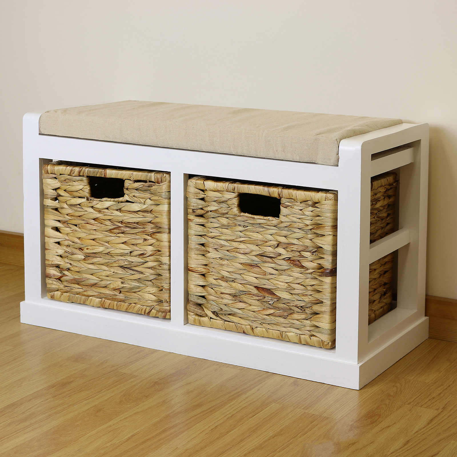 White Hallway Bathroom Shoe Storage Bench Seat Foam Wicker Cushion 2 Baskets Ebay