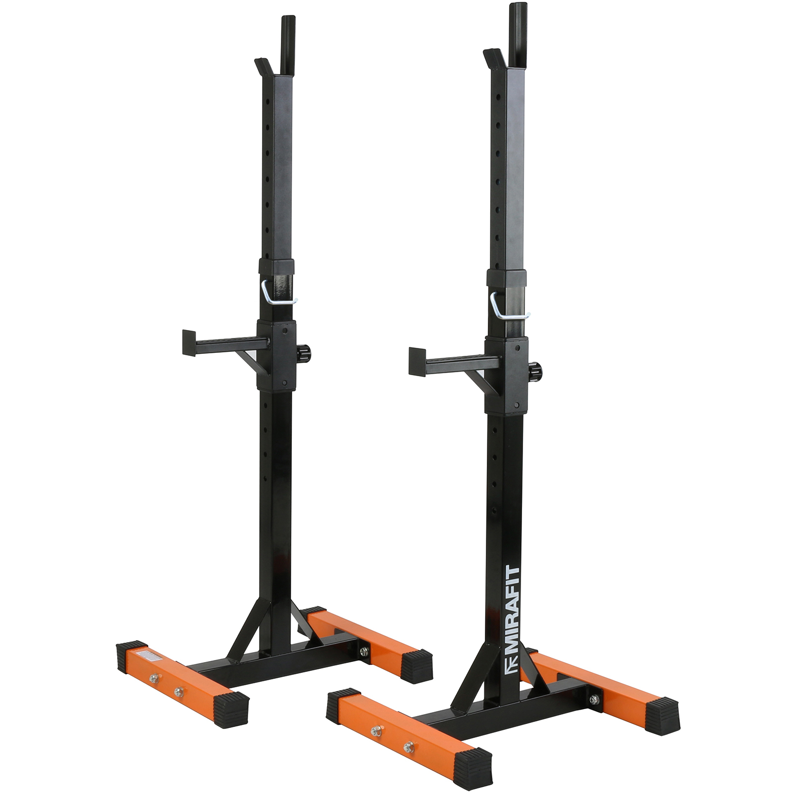 Mirafit 2pc Adjustable Barbell Squat Rack Spotter Stands Weight Gym Bench Power Ebay