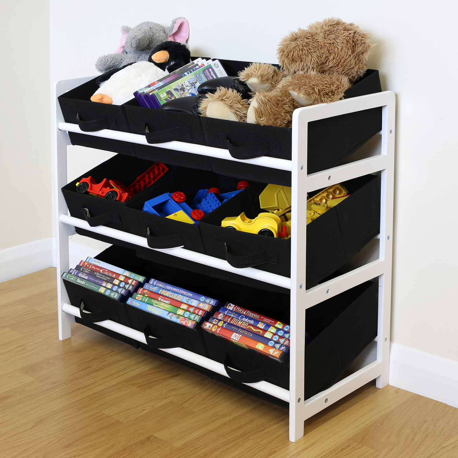 Hartleys 3 Tier Storage Shelf Unit Kids Childrens Bedroom: Black & White 3 Tier Toy Unit 9 Canvas Boxes/Drawers Kids