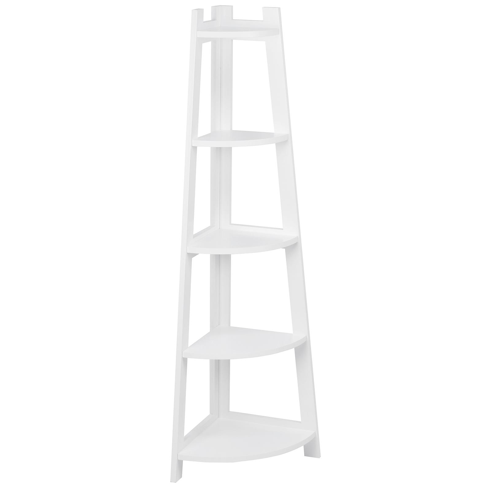 Hartleys 5 Tier White Corner Freestanding Ladder Shelf