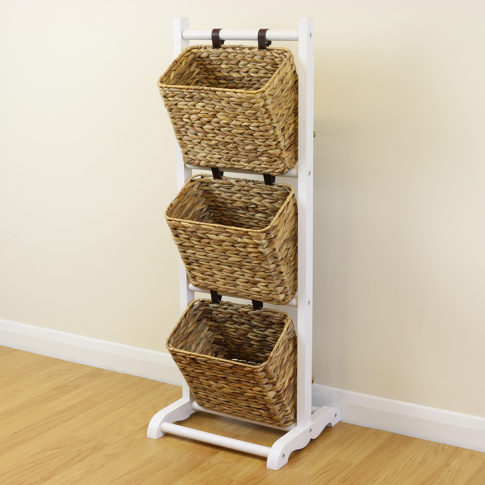 sale 3 tier white hanging wicker basket storage stand With wicker stands bathrooms