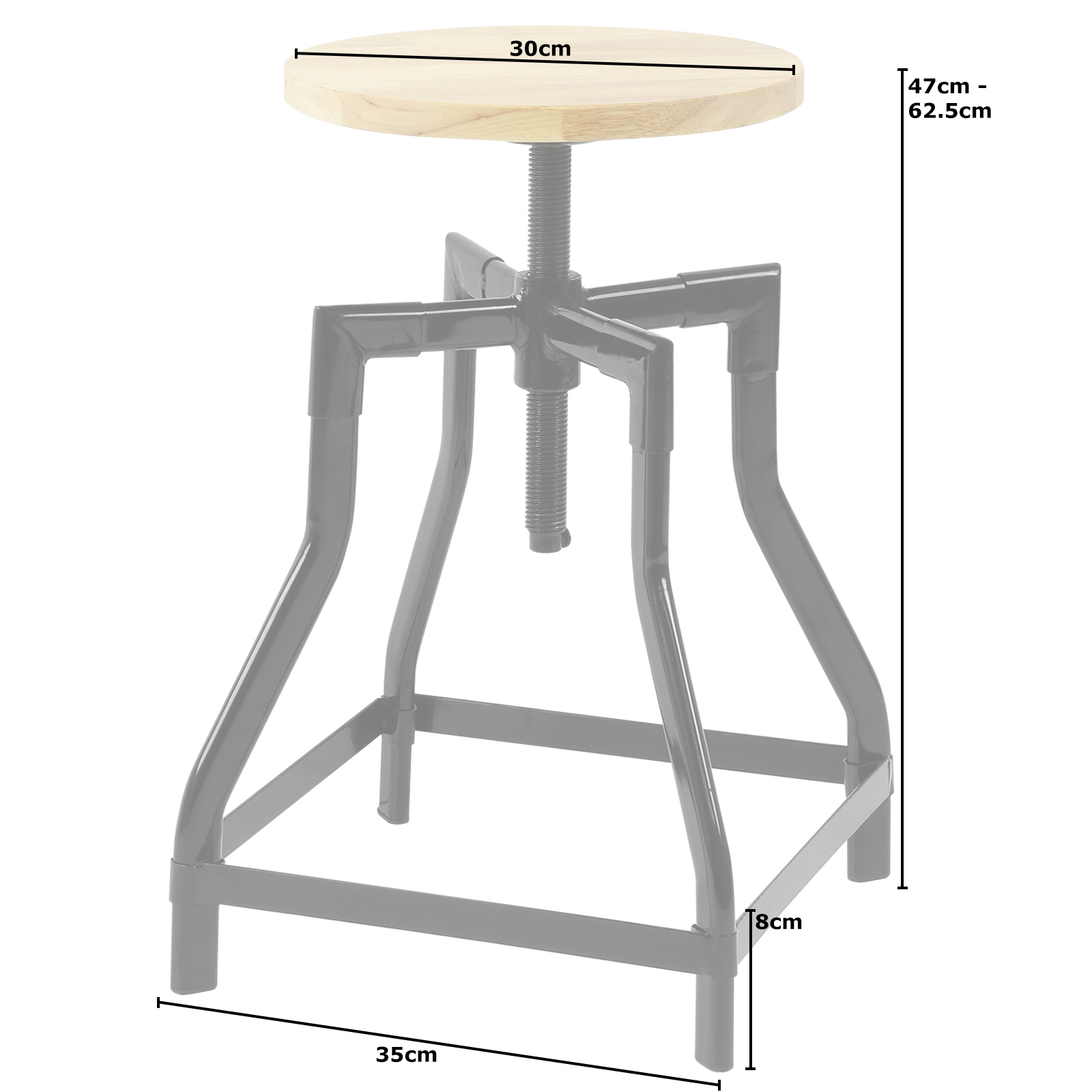 Hartleys low retro swivel screw bar table stool with height adjustable wood seat ebay - Screw top bar stools ...