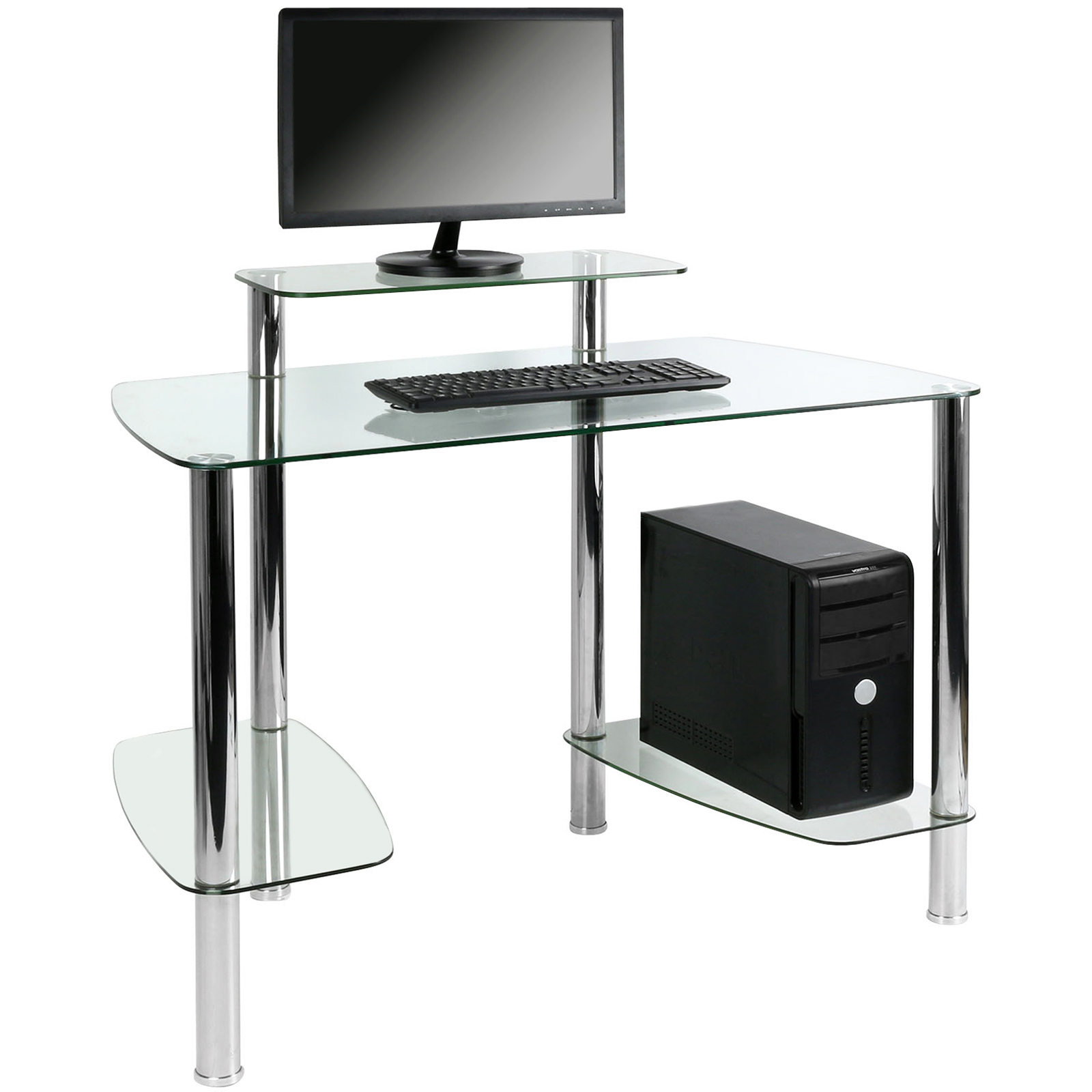 hartleys clear glass computer pc desk table work station