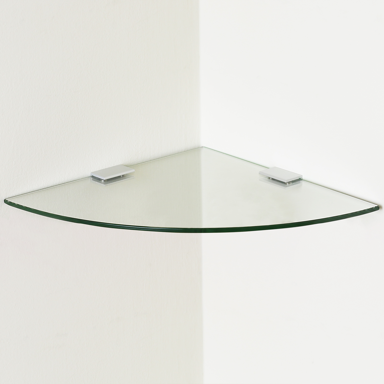 Small clear curved glass floating corner shelf wall for Curved glass wall