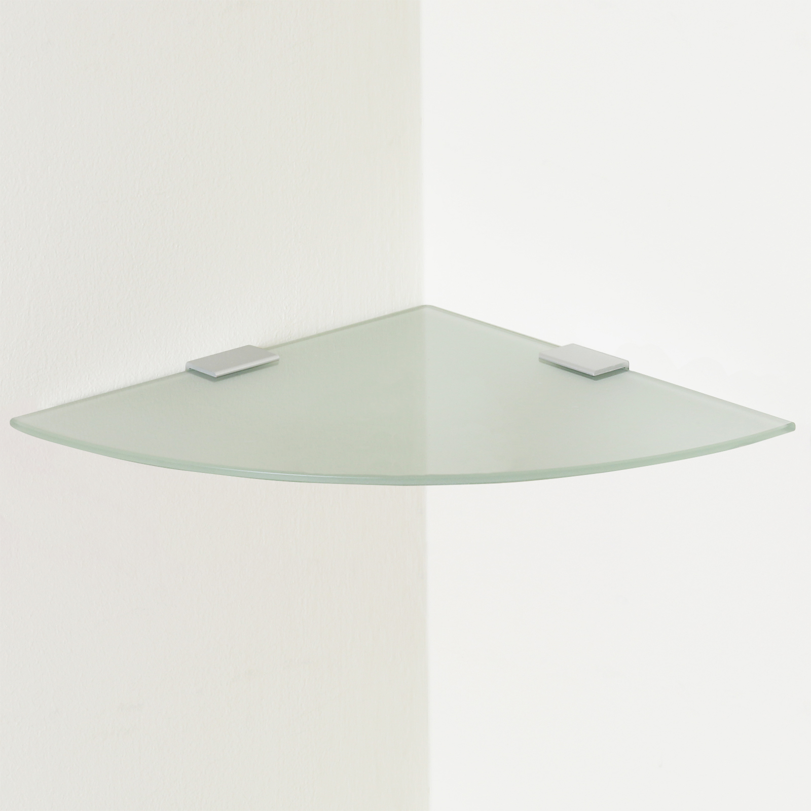 Small frosted curved glass floating corner shelf wall for Small glass wall shelf