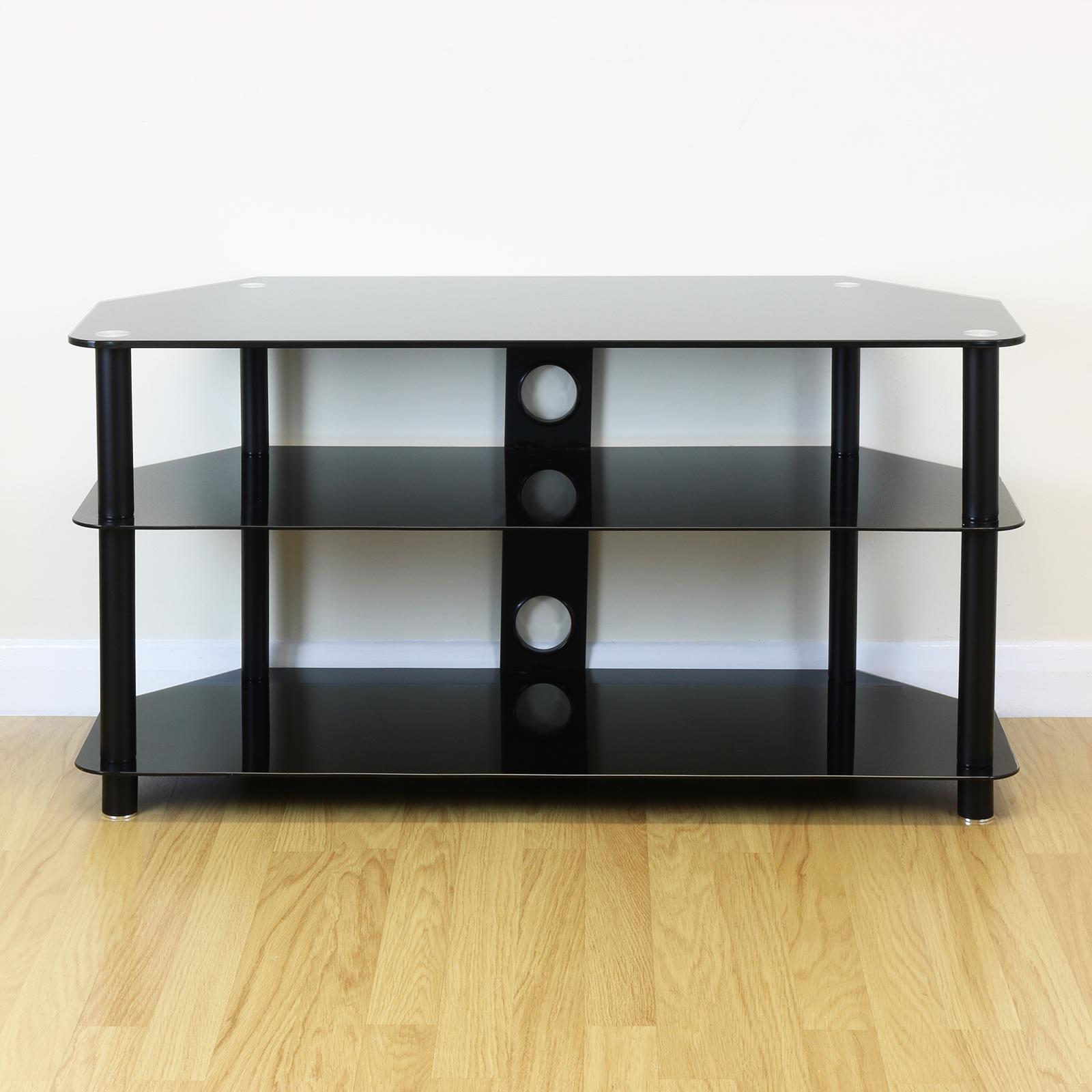 sale large black glass led lcd plasma tv stand corner shelf unit ex display 299 ebay. Black Bedroom Furniture Sets. Home Design Ideas