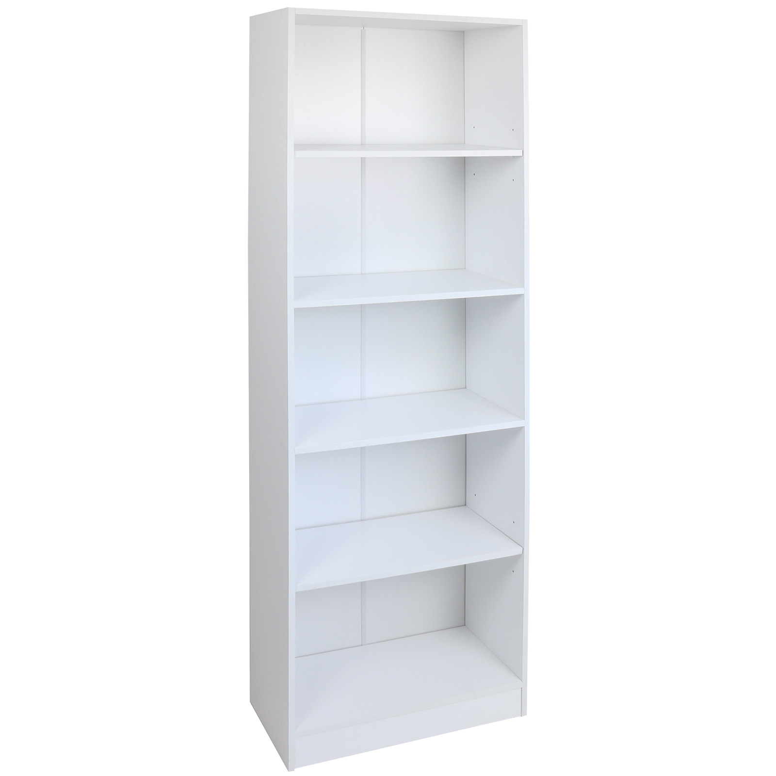 Hartleys 5 Tier White Wooden Freestanding Bookcase