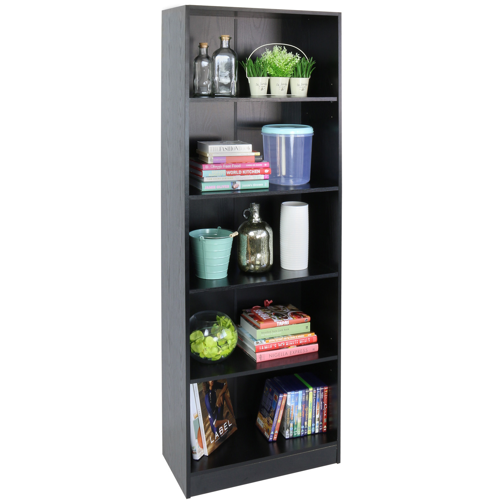 Hartleys 5 Tier Tall Black Wooden Freestanding Bookcase: how deep should a bookshelf be