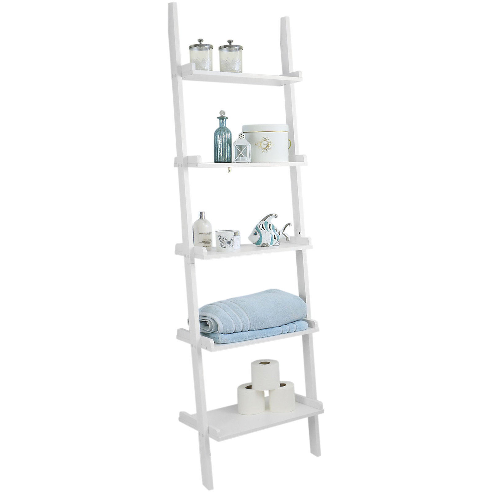 hartleys 5 tier white leaning ladder wall shelf shelving bookcase display unit ebay. Black Bedroom Furniture Sets. Home Design Ideas