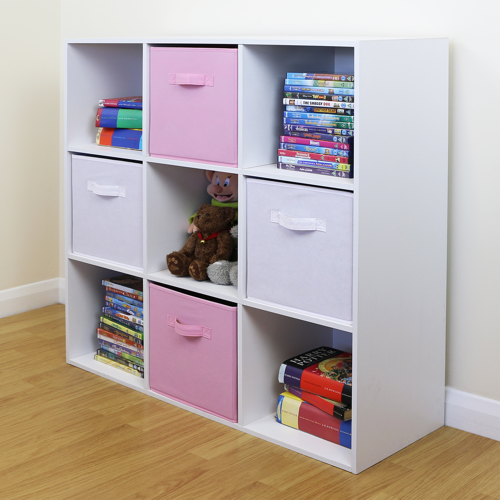 9 cube kids pink white toy games storage unit girls boys bedroom shelves boxes ebay - Toy shelves ikea ...