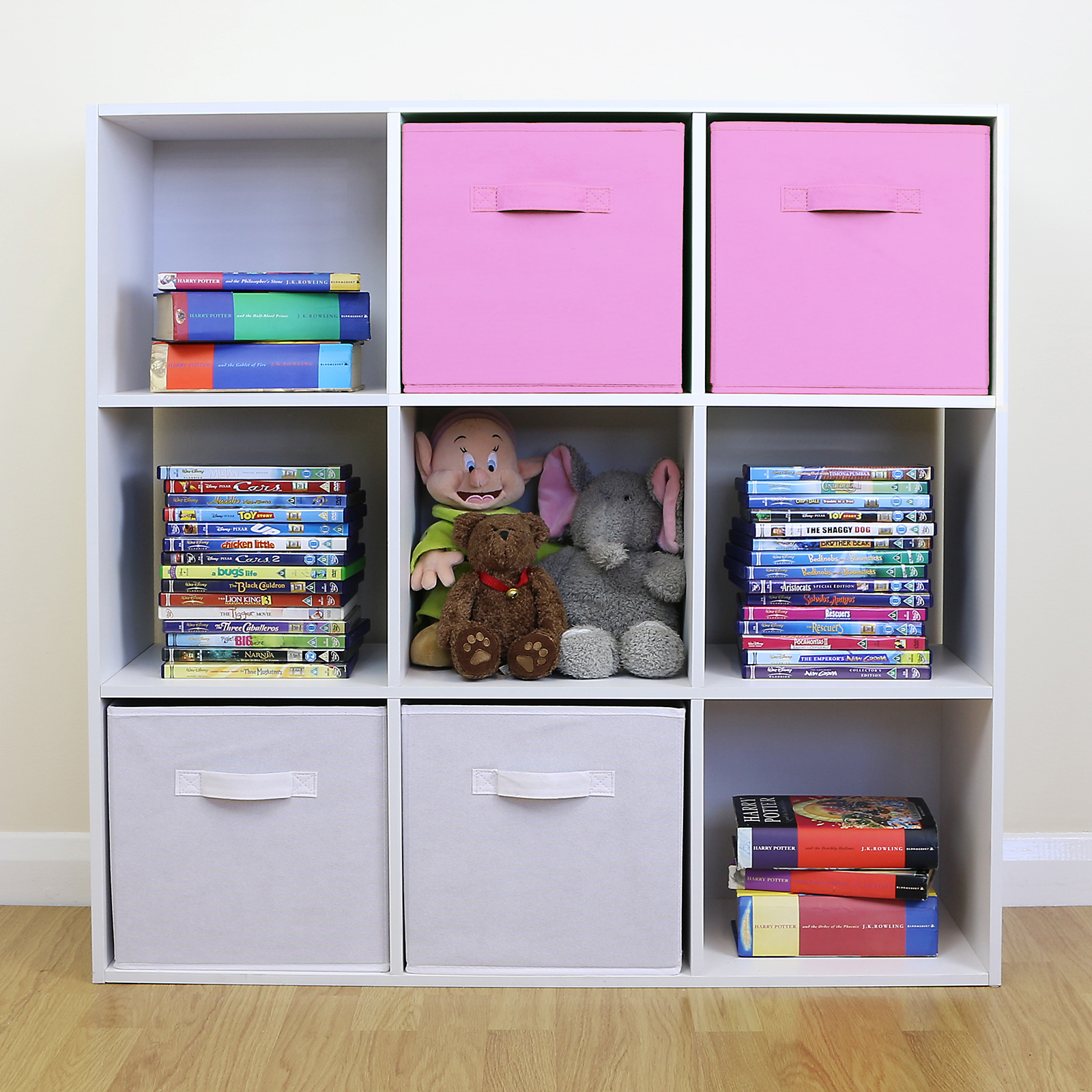 Princess Toys Box Storage Kids Girls Chest Bedroom Clothes: 9 Cube Kids Pink & White Toy/Games Storage Unit Girls/Boys