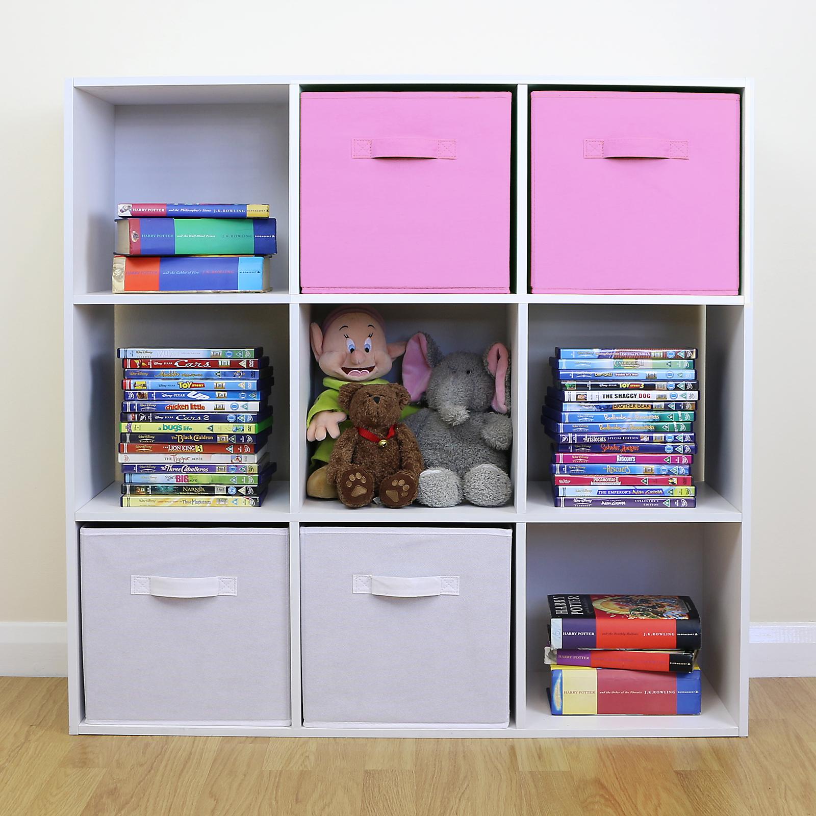 White 6 Cube Kids Toy Games Storage Unit Girls Boys: 9 Cube Kids Pink & White Toy/Games Storage Unit Girls/Boys