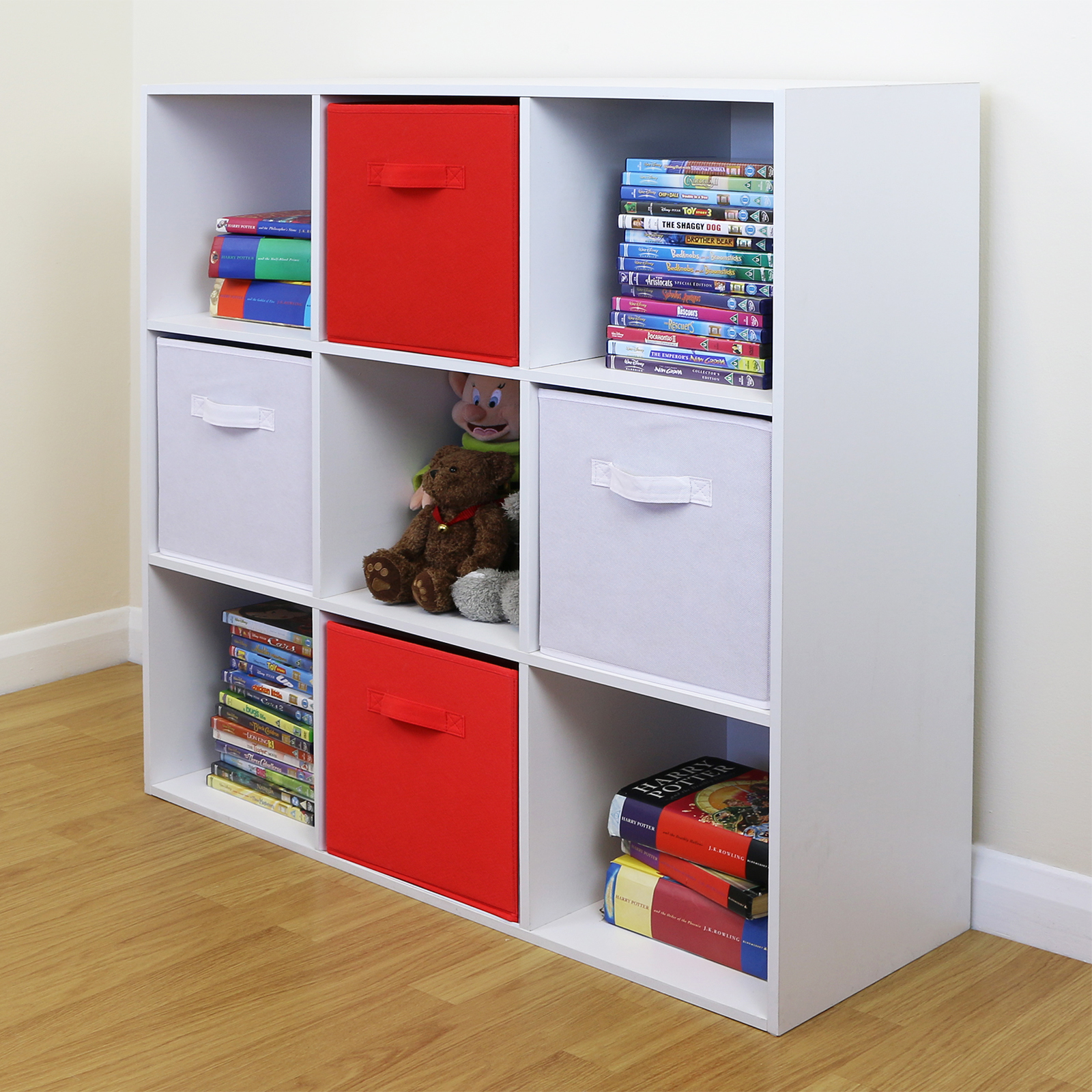 red white toy games storage unit girls boys bedroom shelves boxes