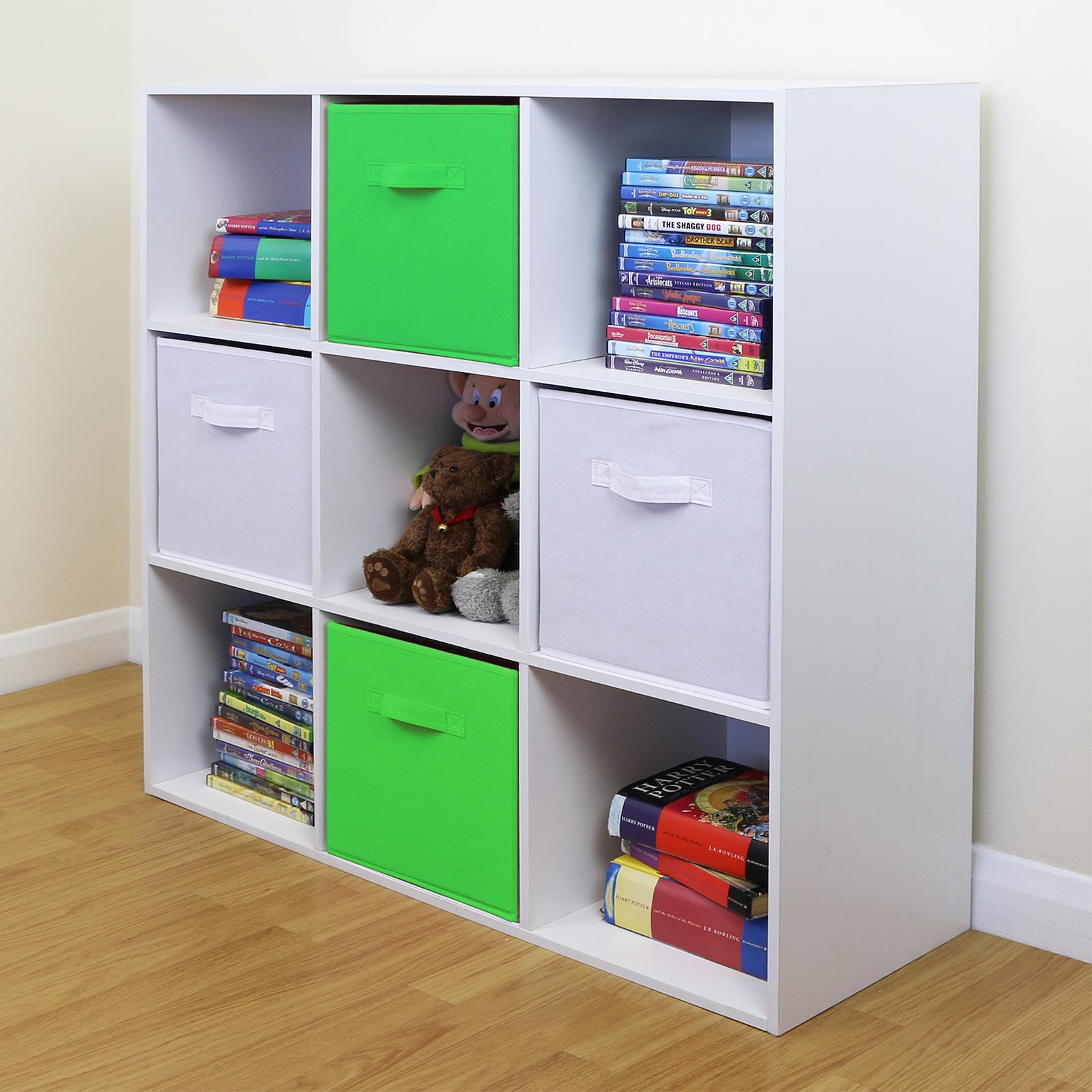6 Cube Kids White Toy Games Storage Unit Girls Boys Childs: 9 Cube Kids Green & White Toy/Games Storage Unit Girls