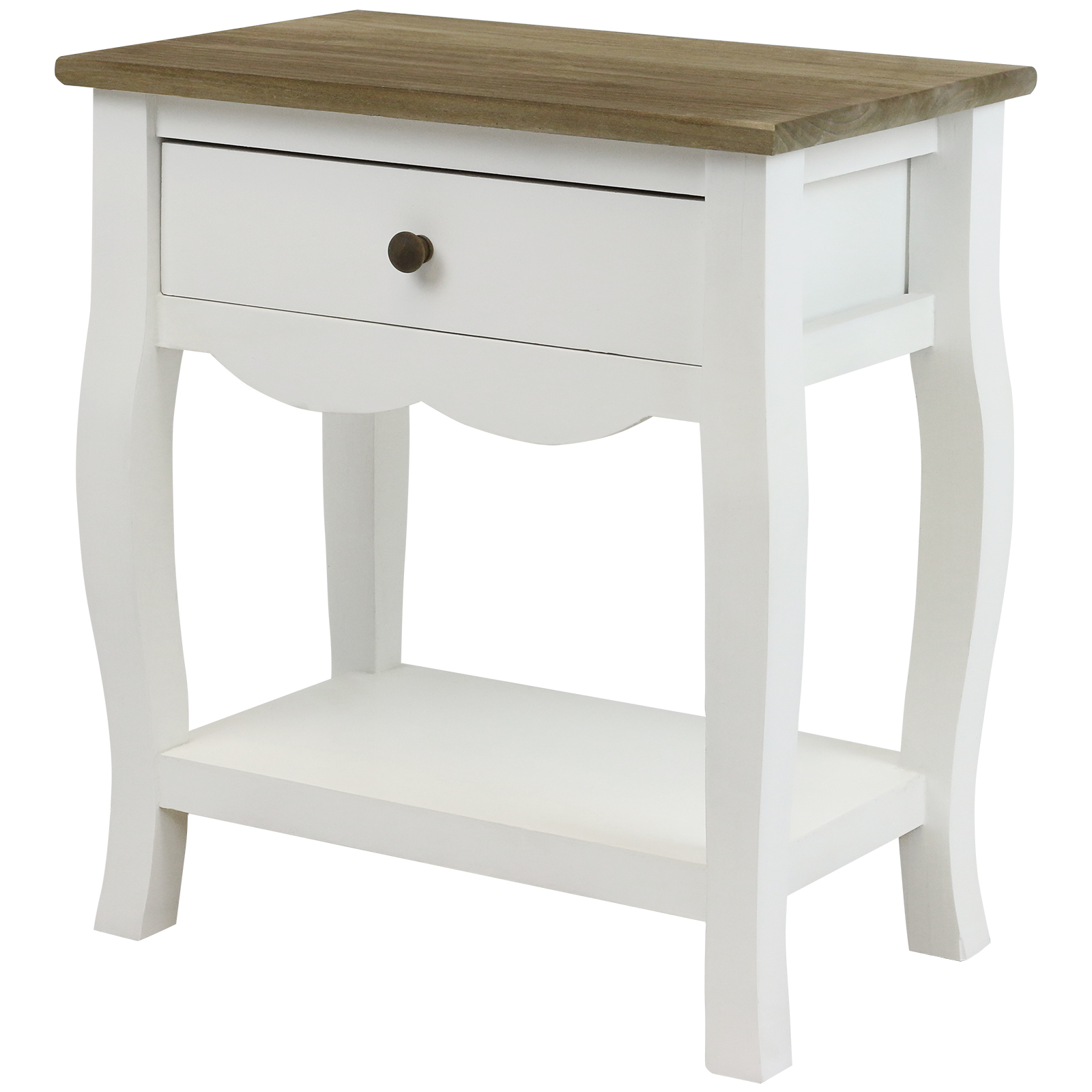 HARTLEYS WHITE & DISTRESSED WOOD TOP BEDSIDE TABLE