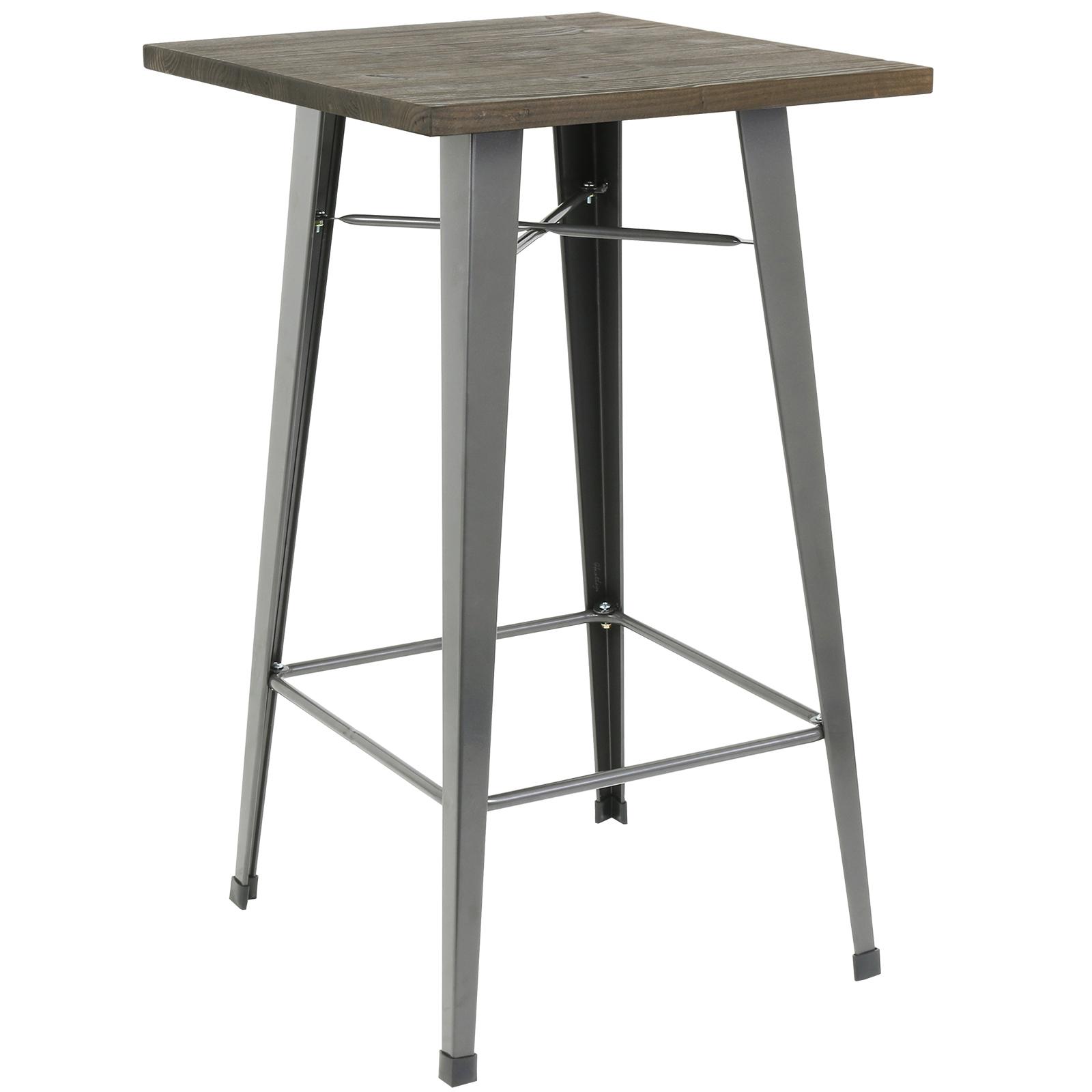Hartleys tall wooden top metal bistro table industrial