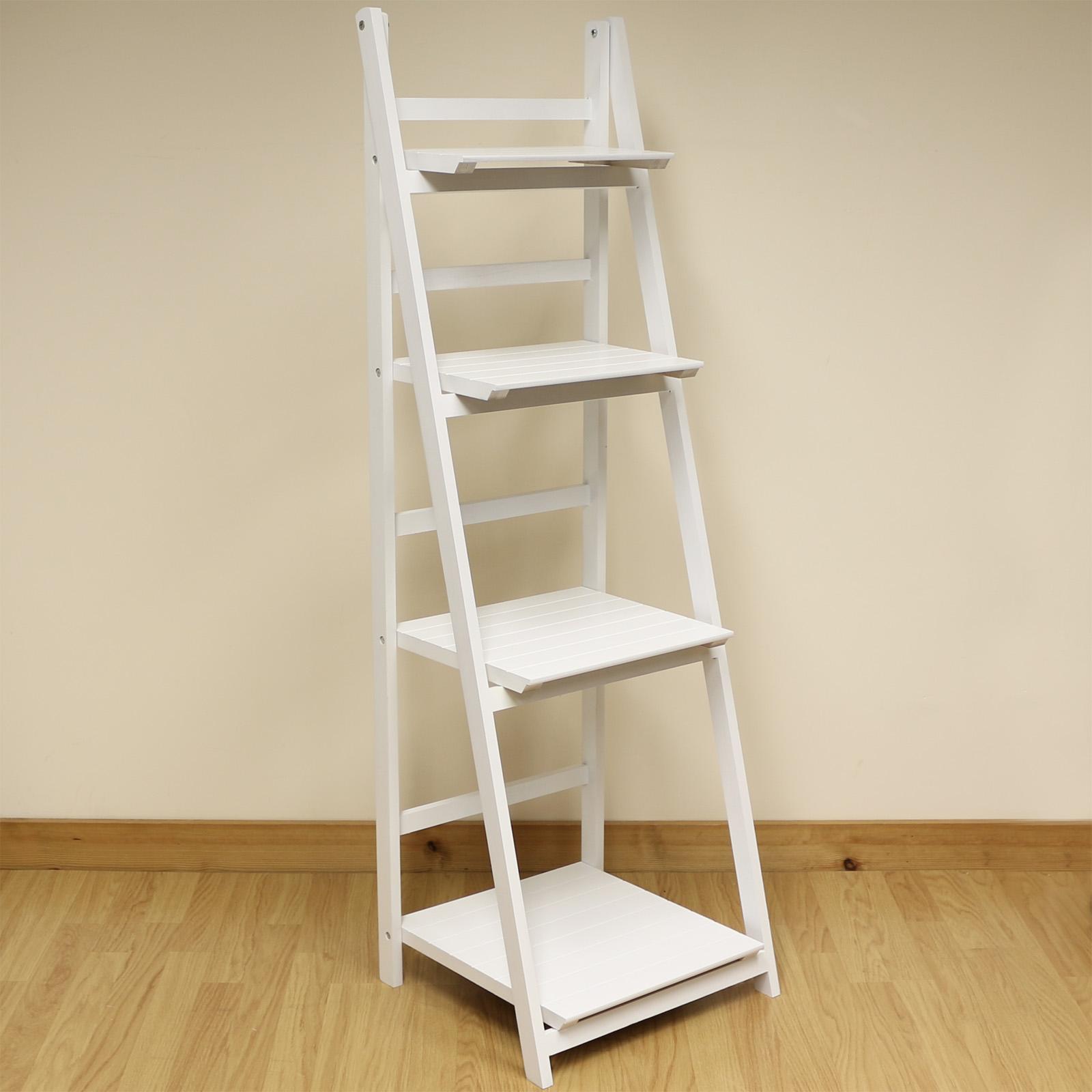 sale 4 tier white ladder shelf display unit free. Black Bedroom Furniture Sets. Home Design Ideas