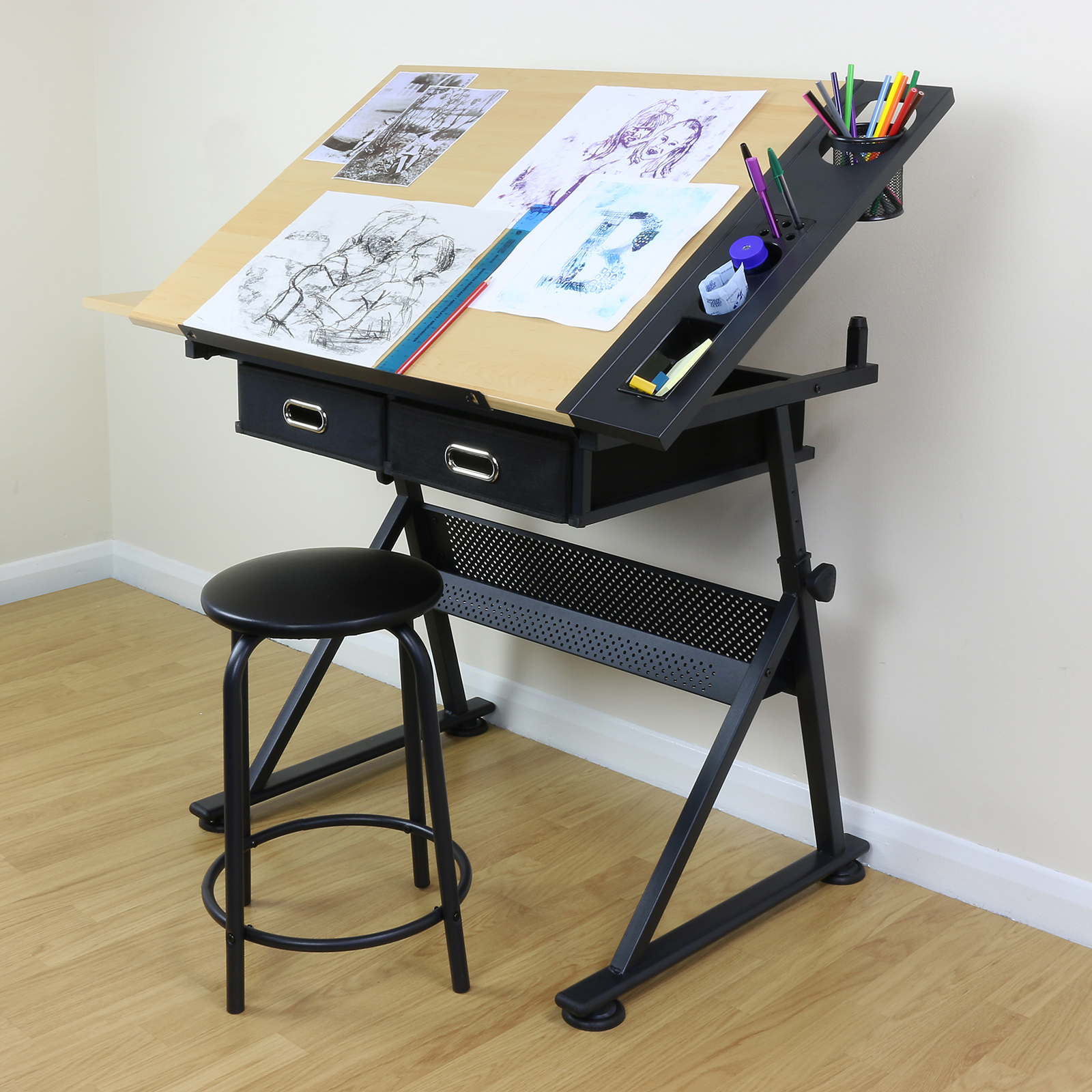 adjustable drawing board drafting table with stool craft. Black Bedroom Furniture Sets. Home Design Ideas