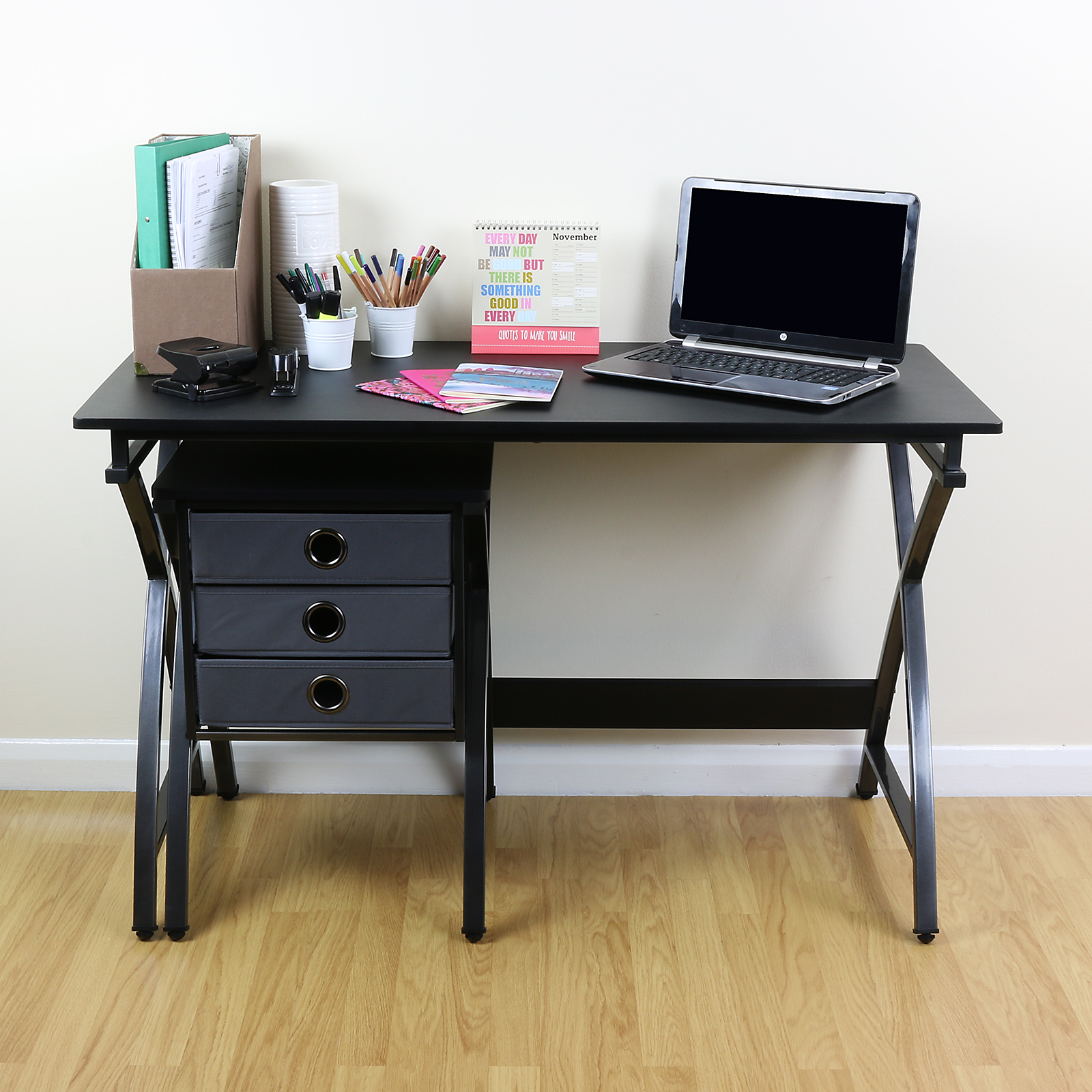 Black Rectangular Computer Desk Table Draw Unit For Home