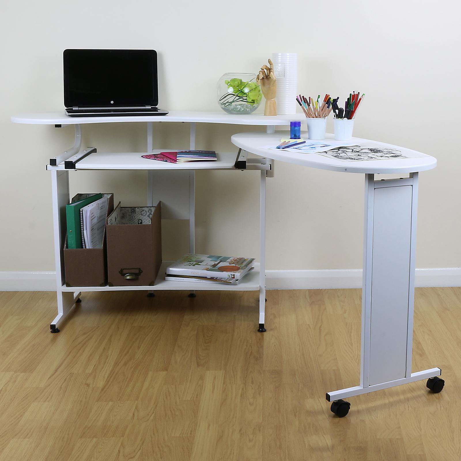 modern white home computer desk against wall or corner