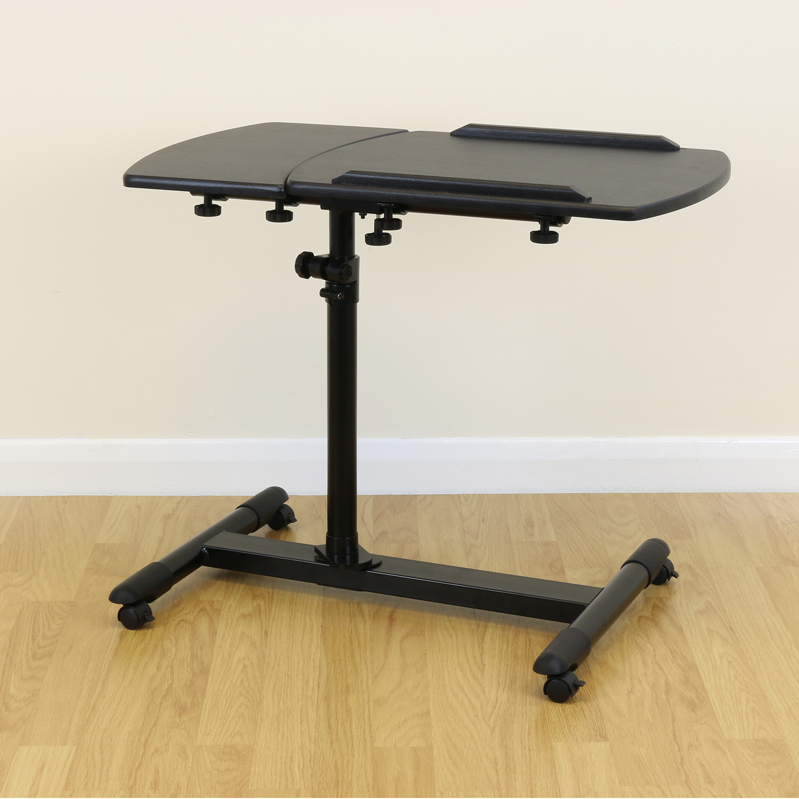 Black Fully Adjustable Moveable Over Bed Table Mobility