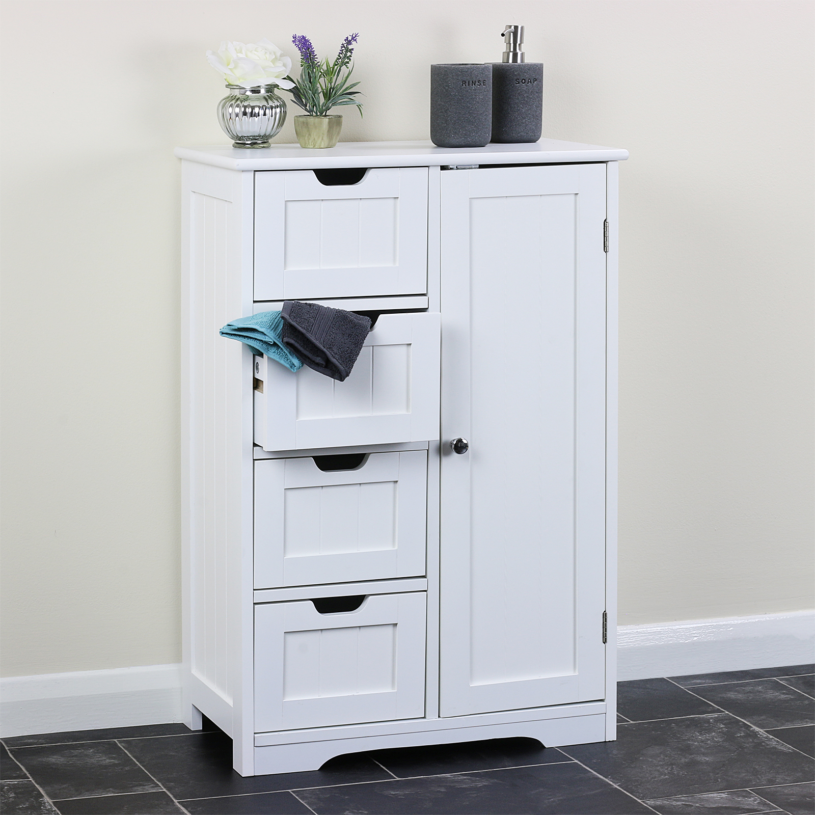 Bathroom Cupboard White Storage Cabinet Unit Bedroom Utility Toilet Room Drawers