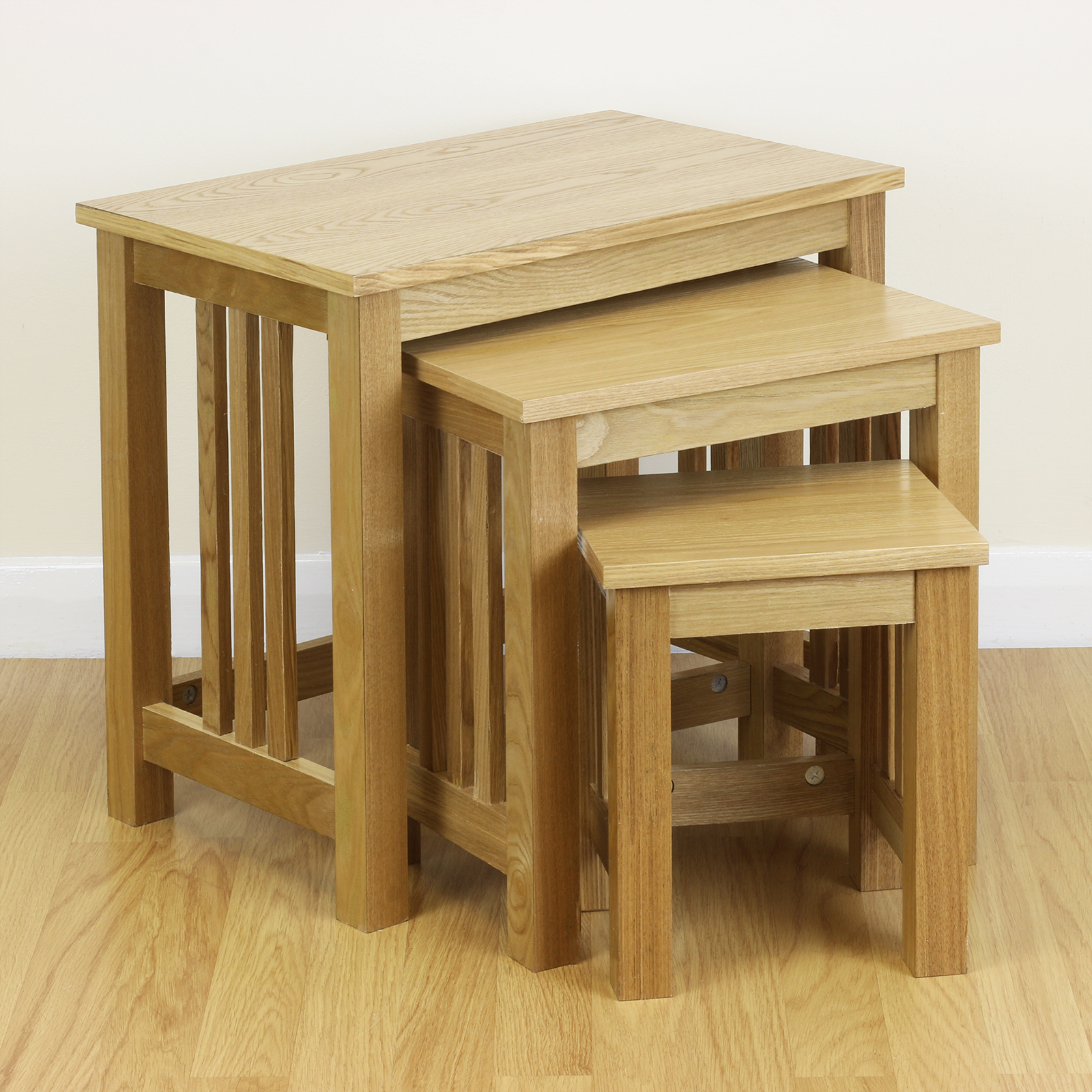 End Tables Clearance: SALE Nest Of 3 Ash Veneer Wooden Side/End/Lamp Tables Home