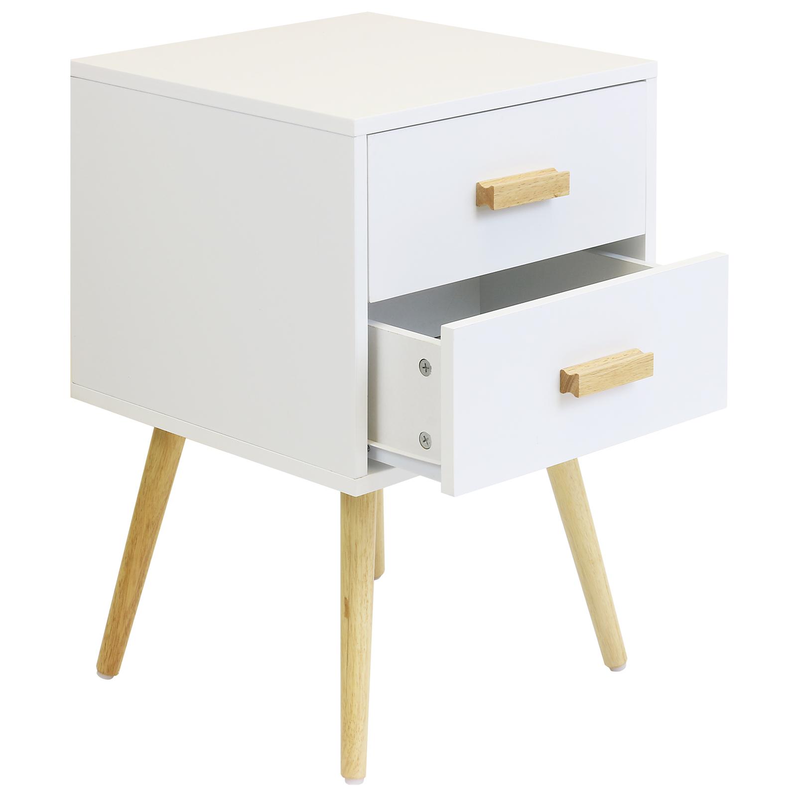 White bedside table - Sentinel Hartleys 2 Drawer White Bedside Table Wood Legs Scandinavian Retro Bedroom Unit