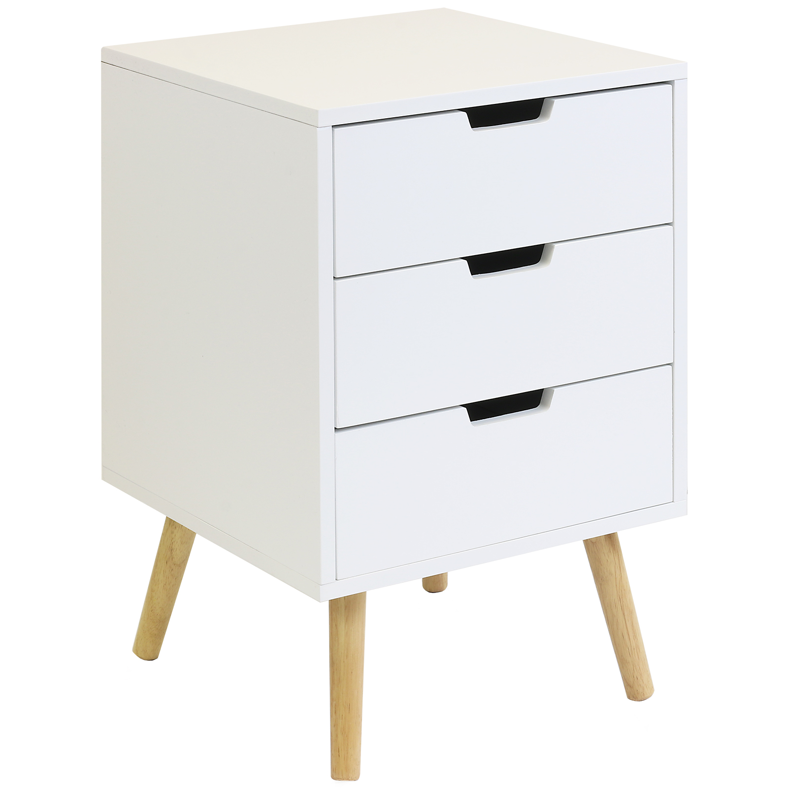 hartleys 3 drawer white bedside table wood legs. Black Bedroom Furniture Sets. Home Design Ideas