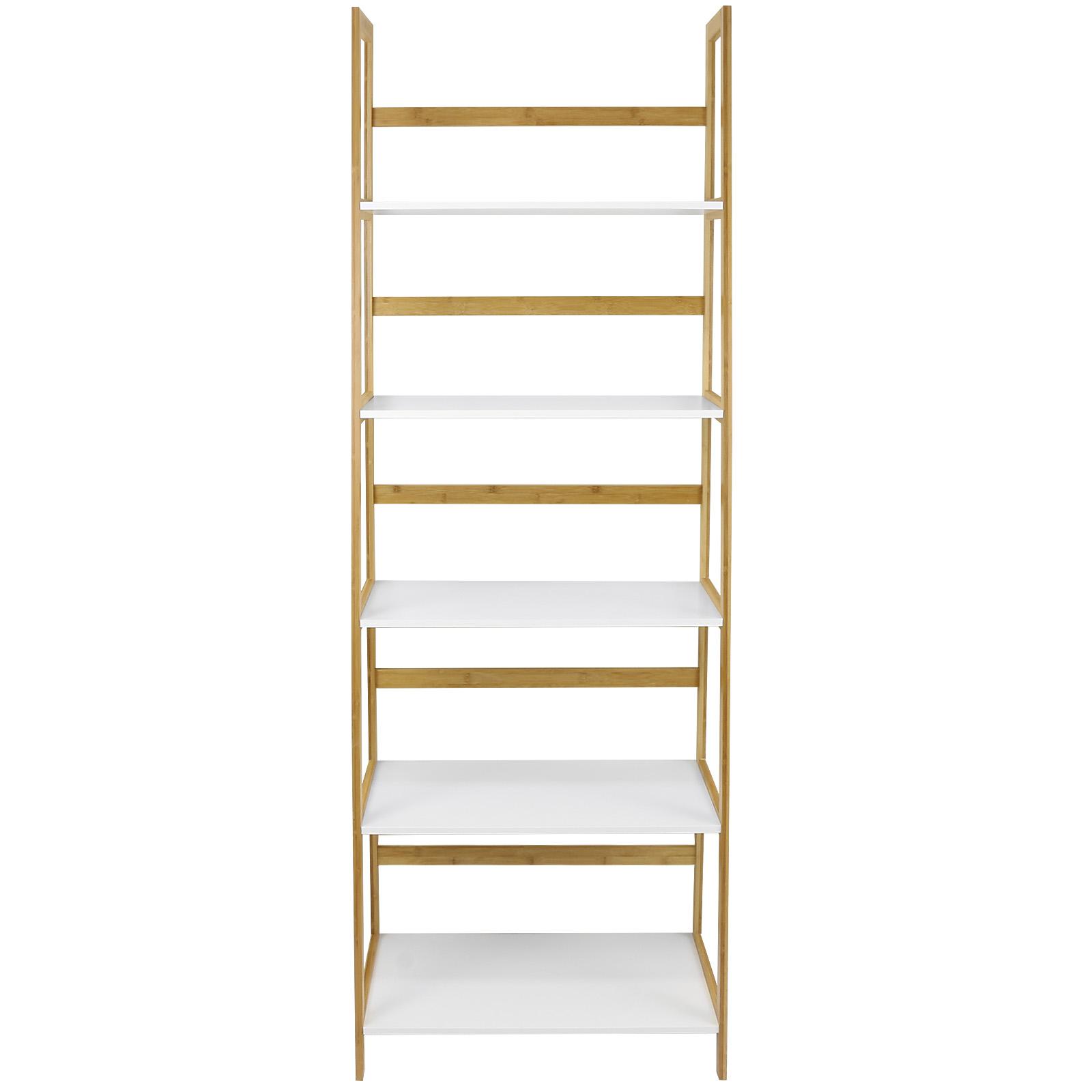 Hartleys white bamboo 5 tier tall bookcase shelves - Modern white shelving unit ...
