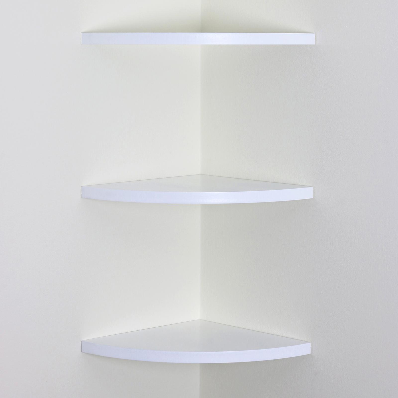 white wood curved radial floating corner wall shelf unit. Black Bedroom Furniture Sets. Home Design Ideas