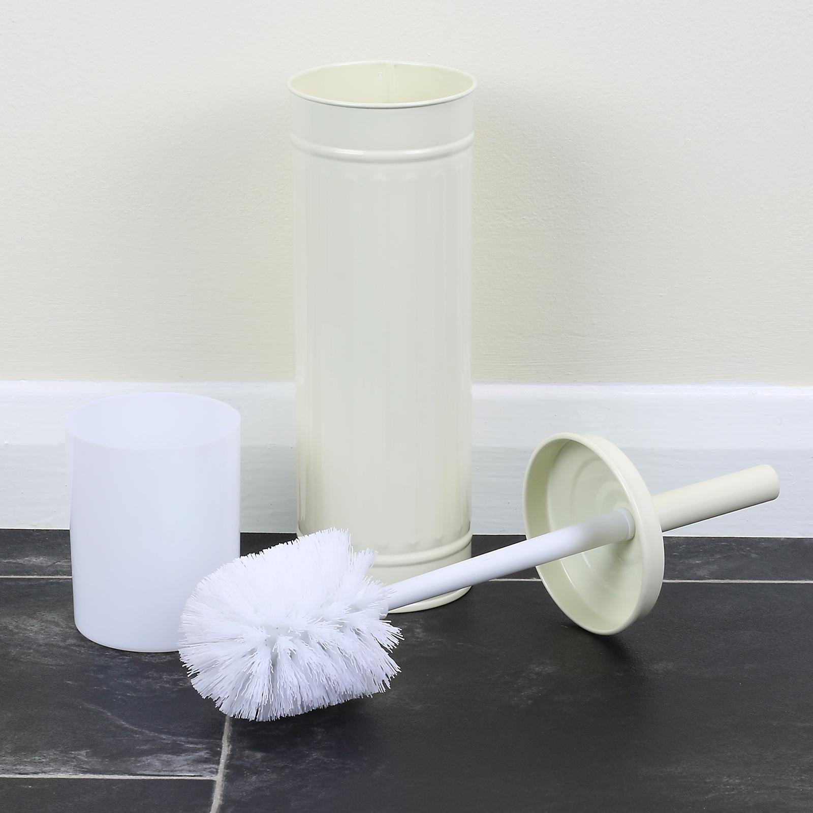 Cream Metal Bathroom Pedal Bin Amp Slimline Toilet Brush