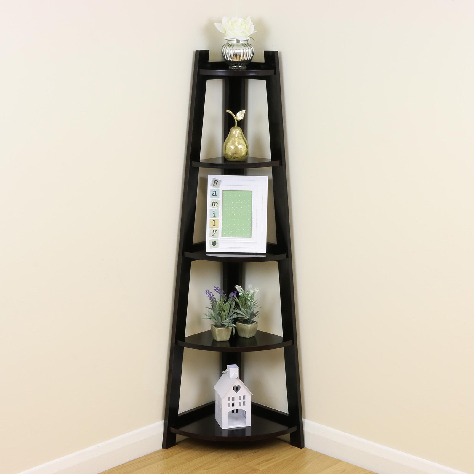 brown 5 tier corner shelf shelving unit stand home bathroom lounge sale 908 ebay. Black Bedroom Furniture Sets. Home Design Ideas