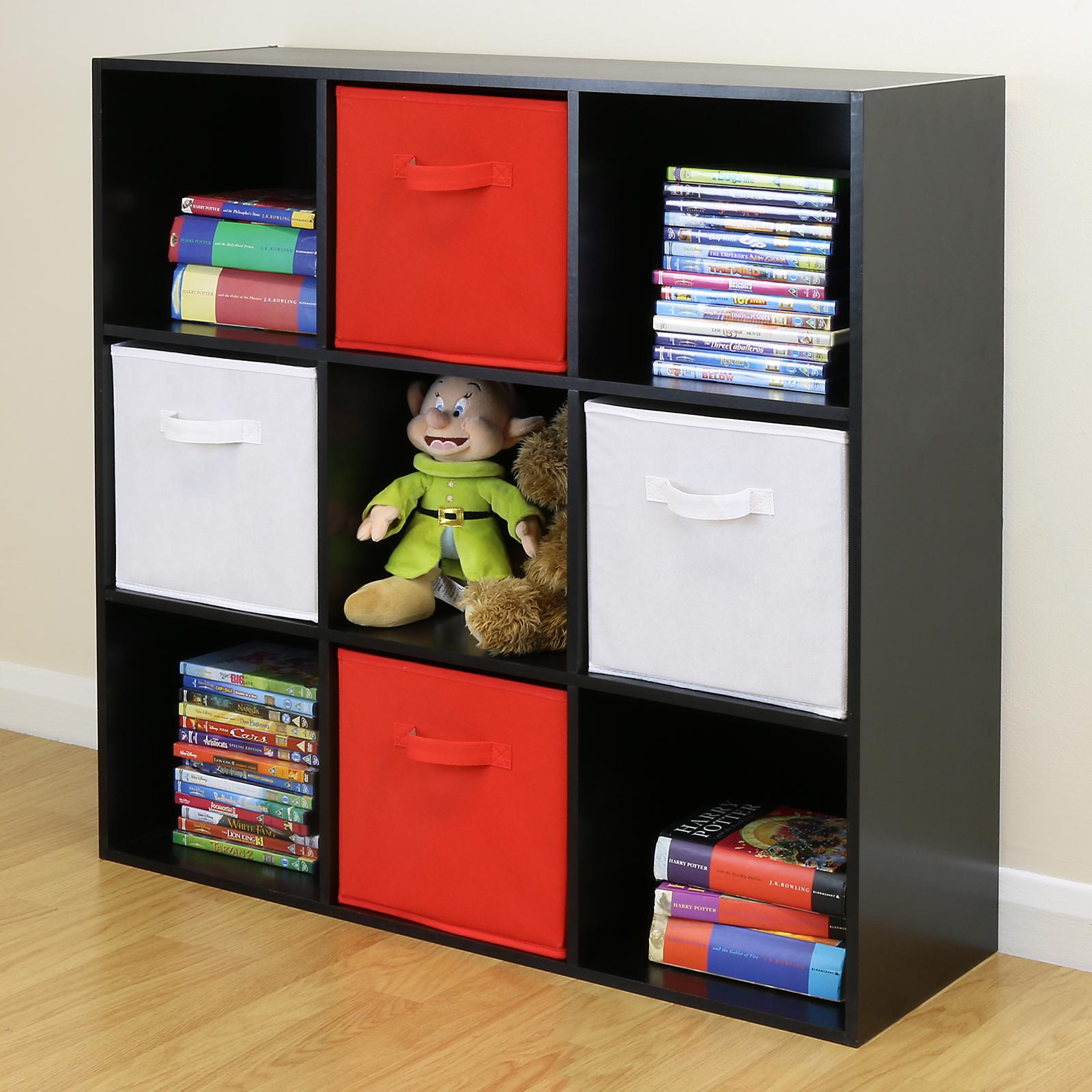 6 Cube Kids White Toy Games Storage Unit Girls Boys Childs: Black 9 Cube Kids Red & White Toy/Games Storage Unit Girls