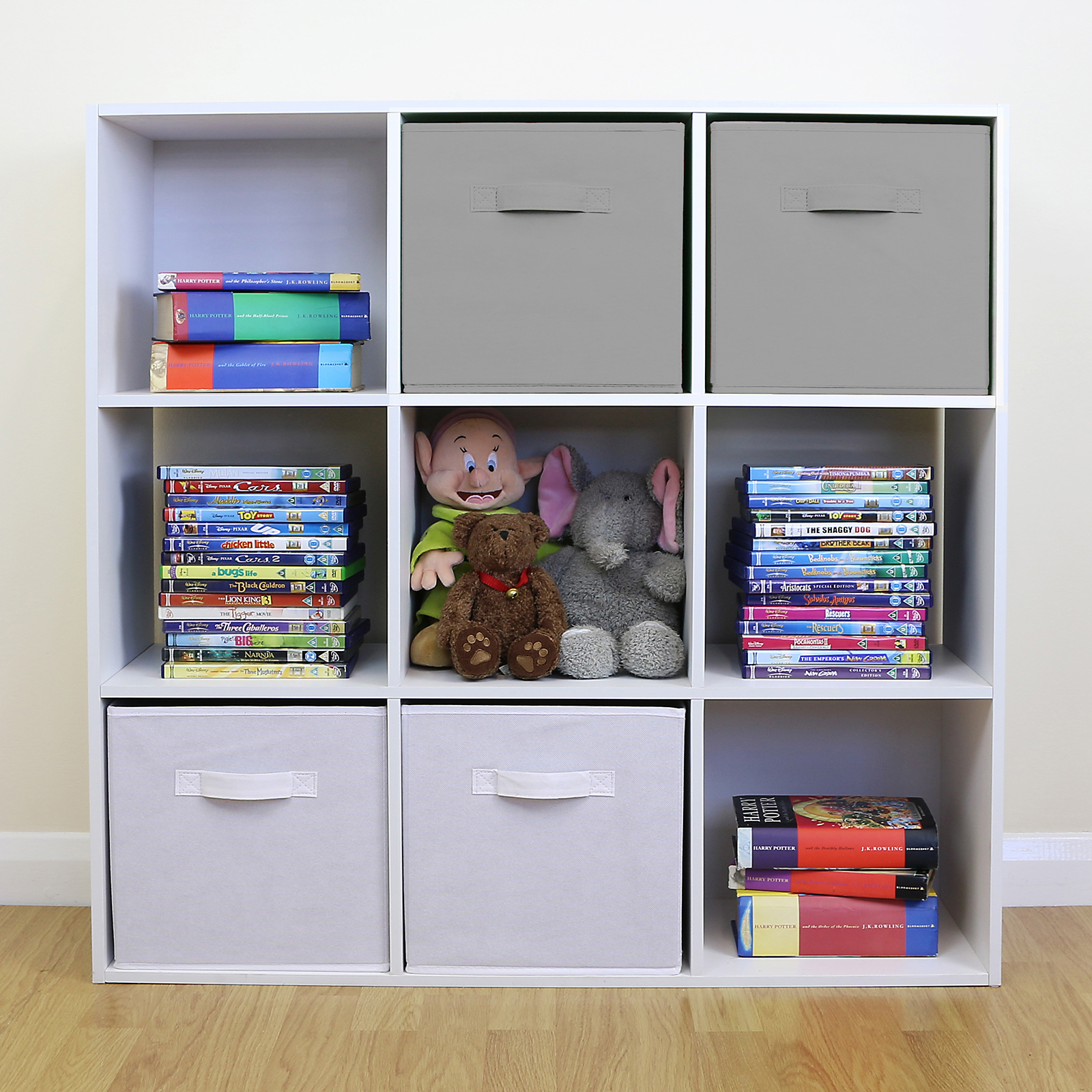 Kids Room Bedroom Storage Chest Unit Box With Lid For Sale: 9 Cube Kids Grey & White Toy/Games Storage Unit Girls/Boys