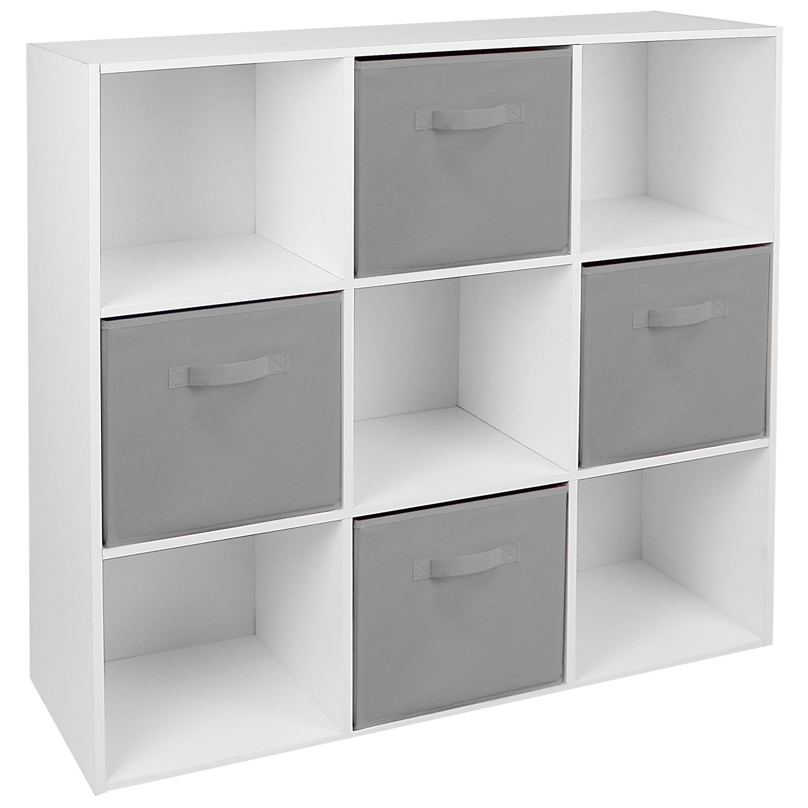 hartleys white 9 cube modular shelving display unit 4 x. Black Bedroom Furniture Sets. Home Design Ideas