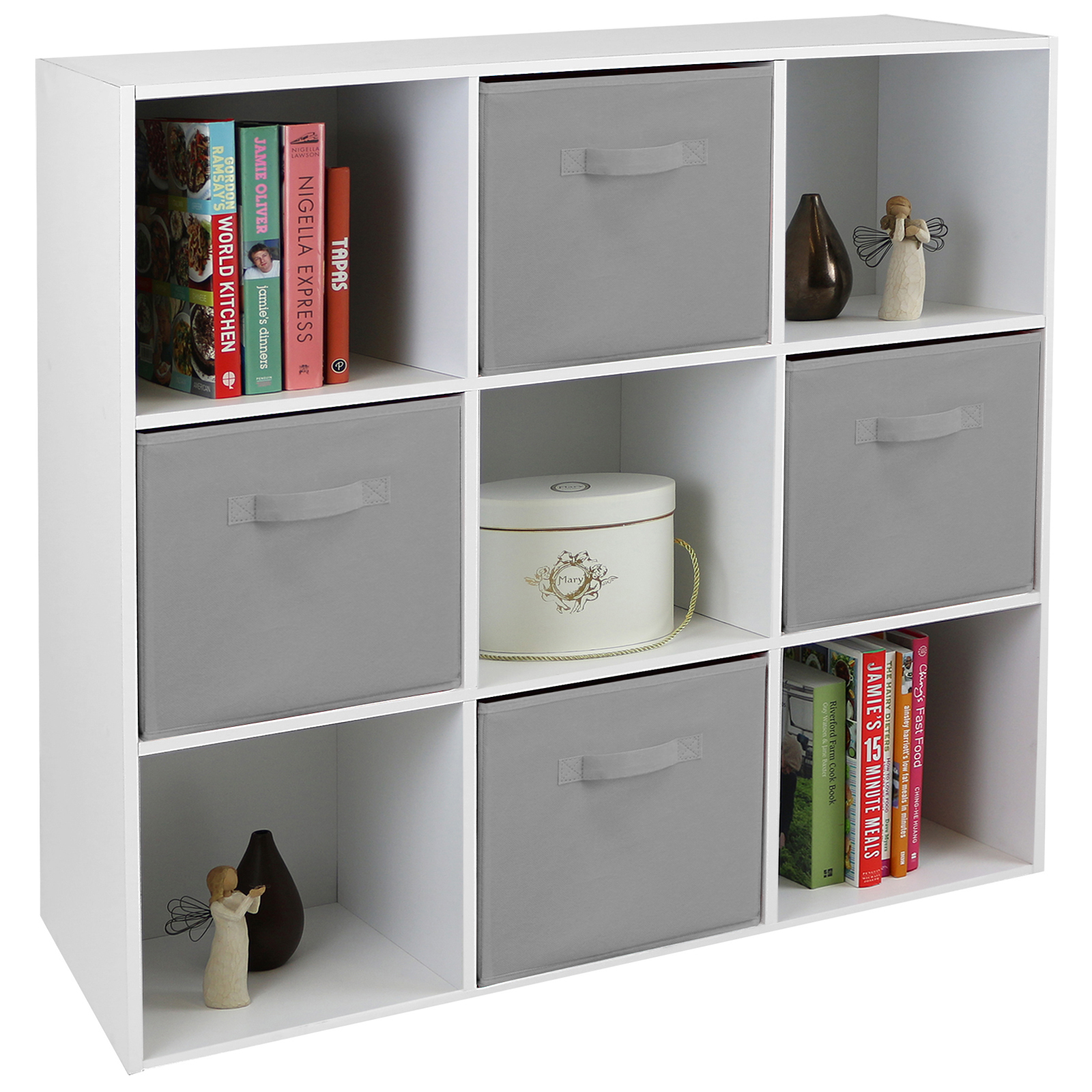 hartleys white 9 cube modular shelving display unit 4 x grey fabric storage box ebay. Black Bedroom Furniture Sets. Home Design Ideas